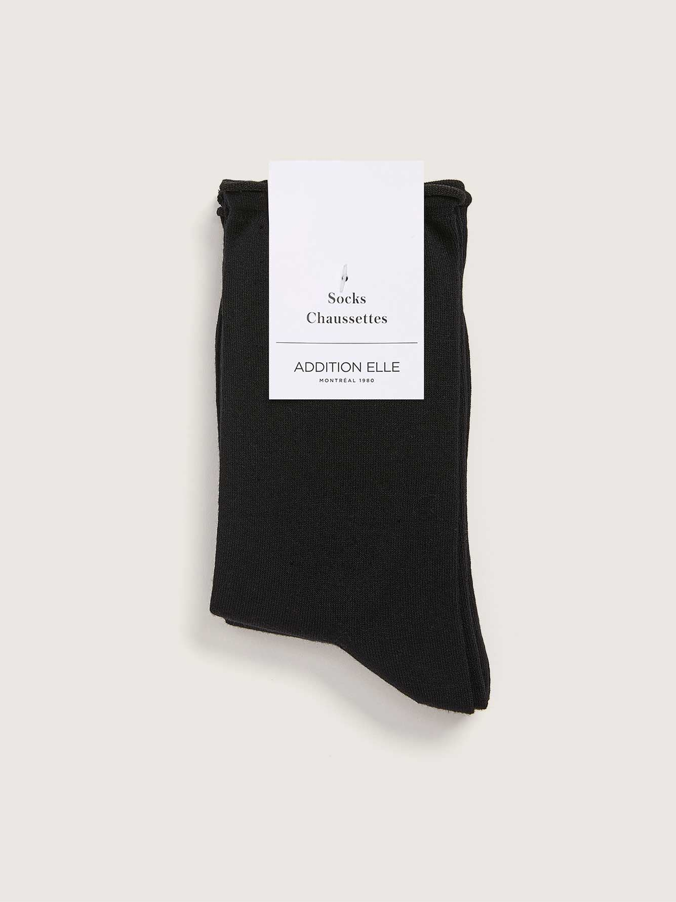 Cotton Socks with Rolled Edge, Pack of 3 - Addition Elle