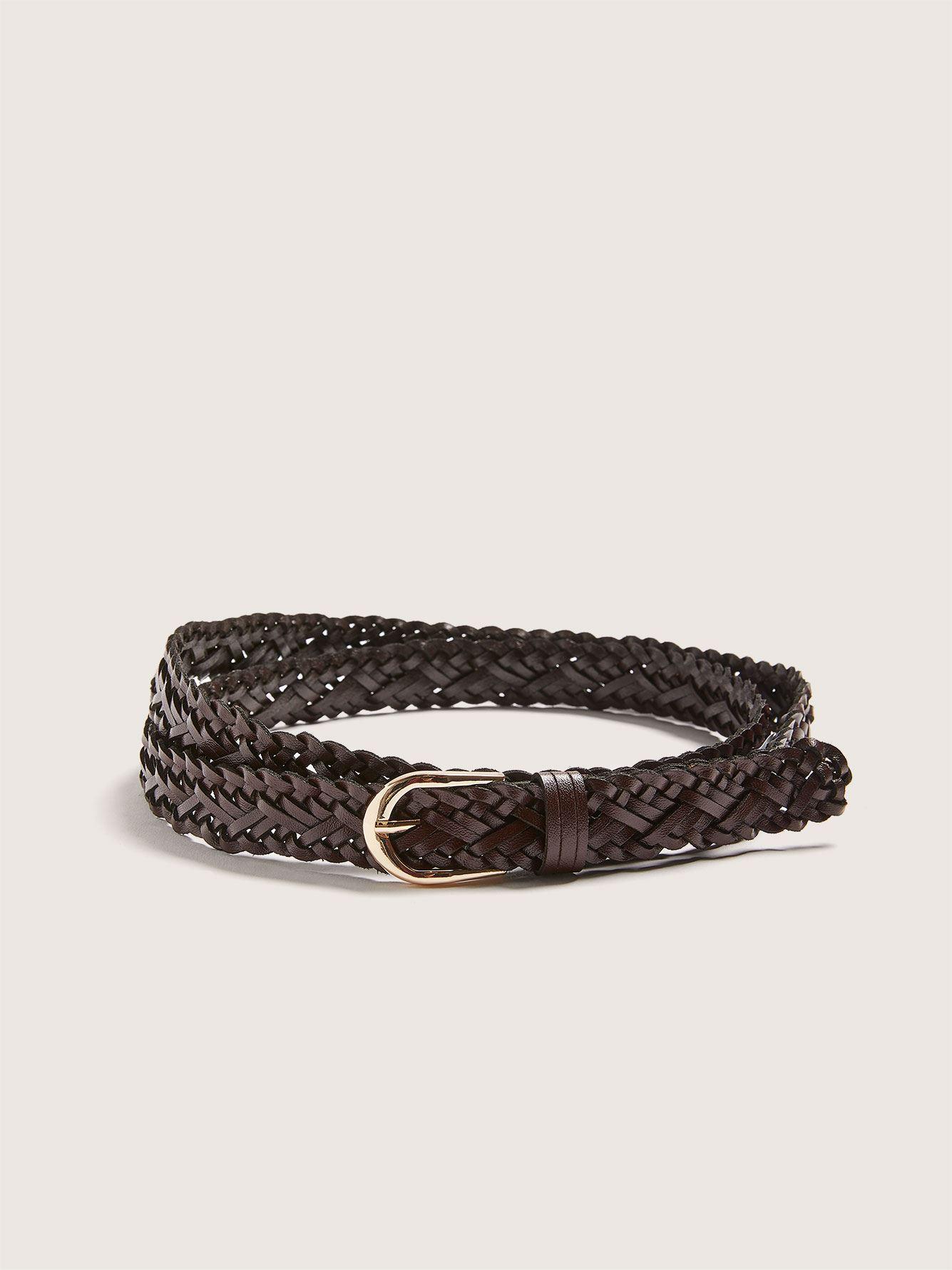 Skinny Leather Braided Belt - Addition Elle