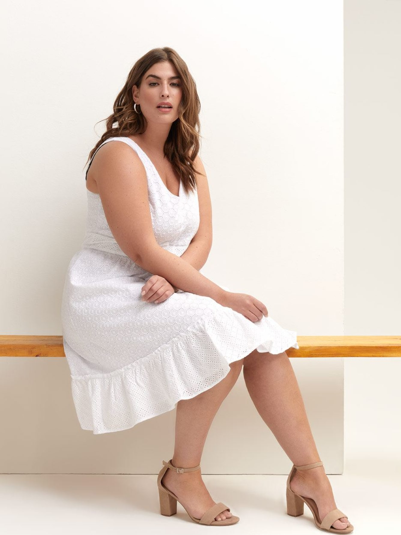 Cotton Blend Eyelet Dress