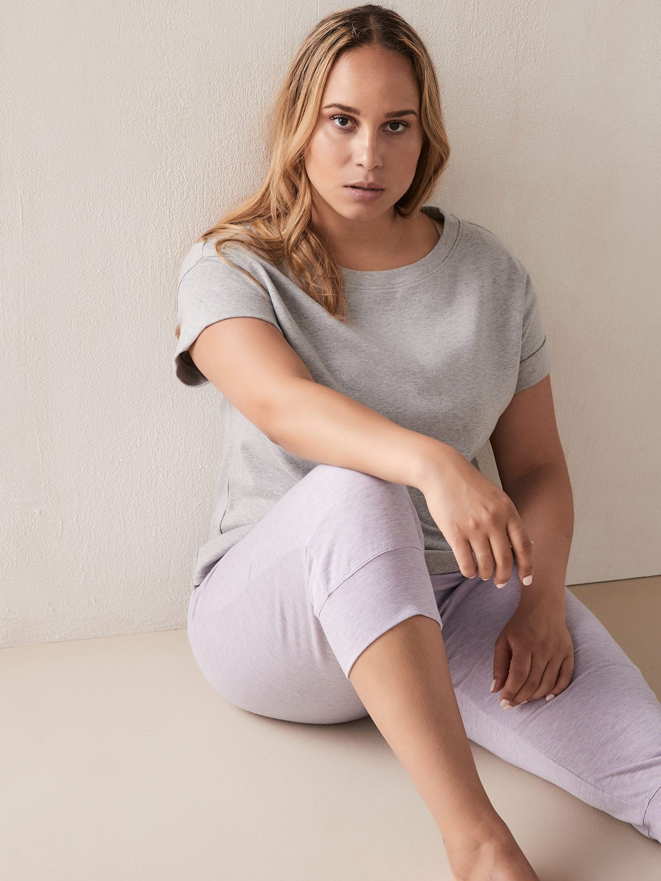 Heathered Short Sleeve Cotton PJ T-Shirt - Addition Elle