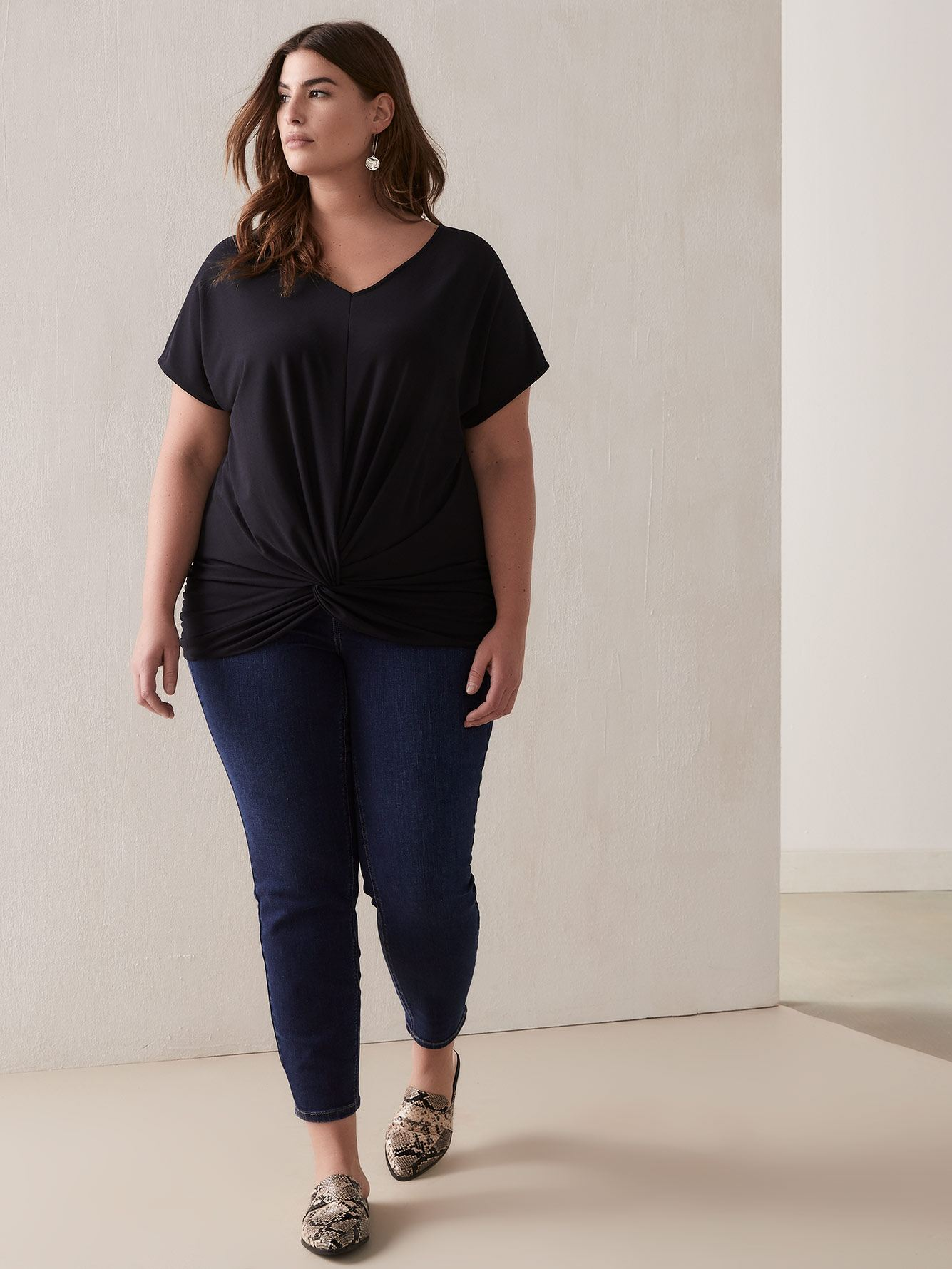 Short-Sleeve Top with Twisted Front