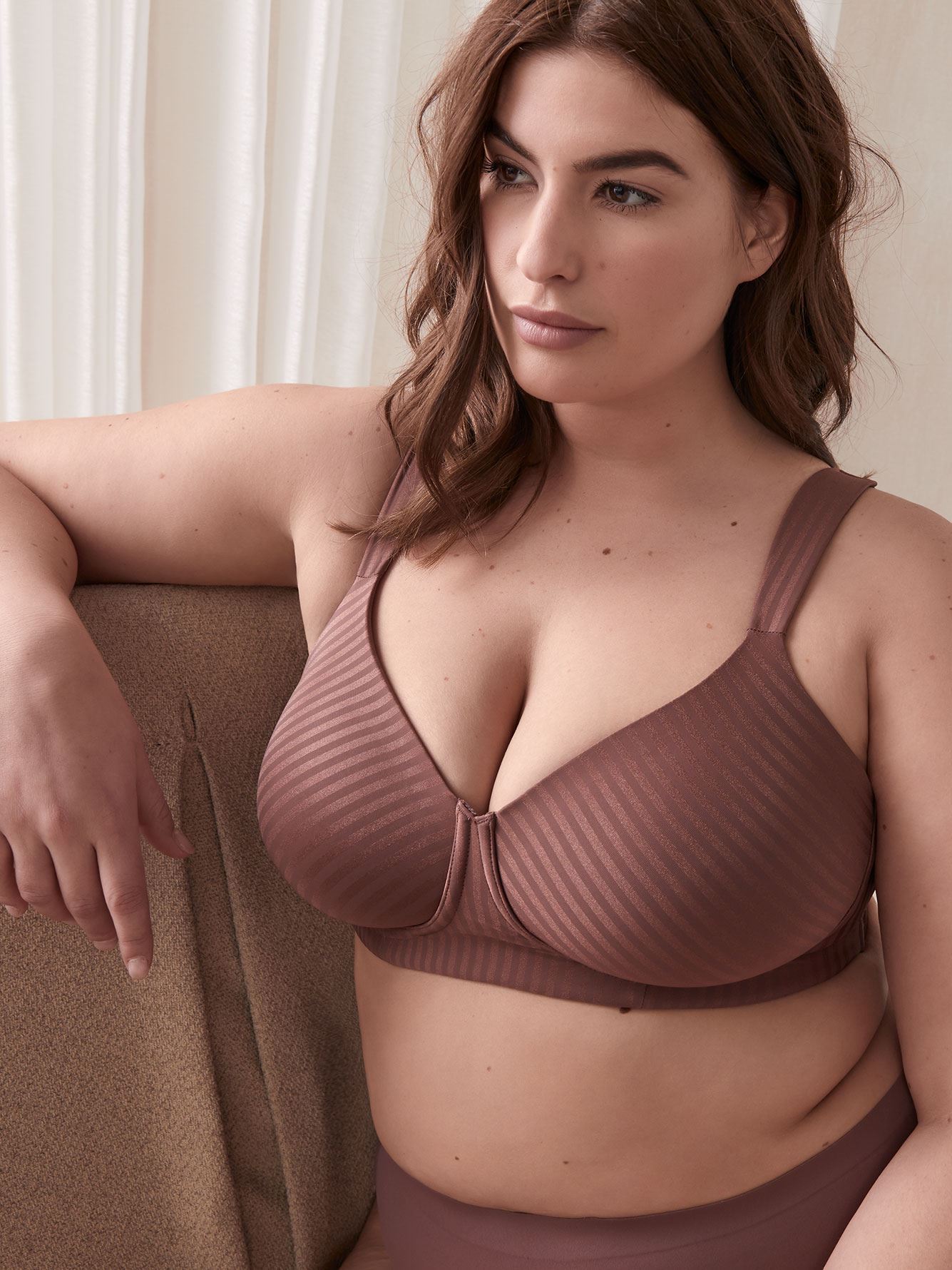 Padded Wirefree Striped T-Shirt Bra, G & H Cups