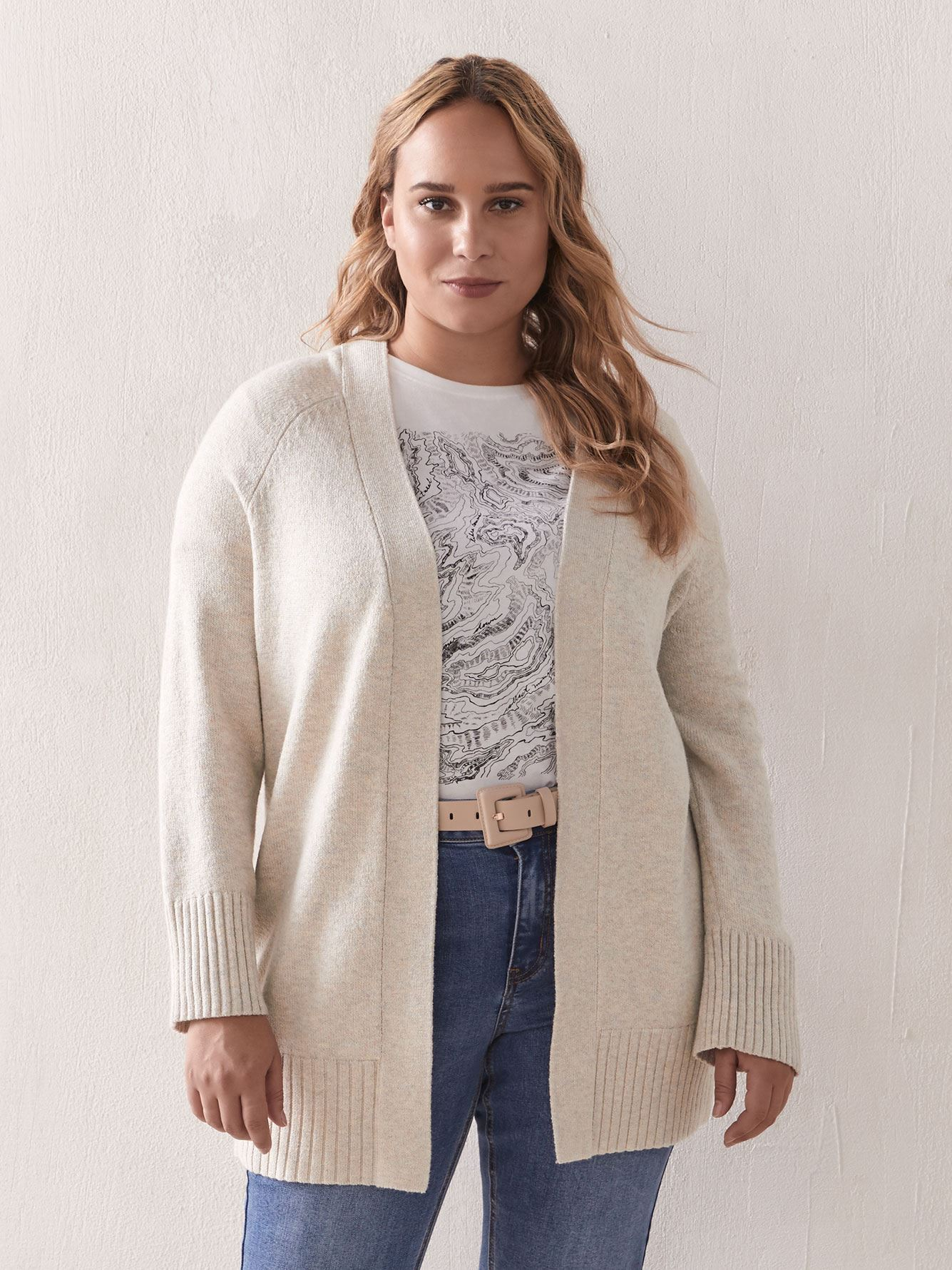 Pointelle Stitch Edge to Edge Cardigan - Addition Elle