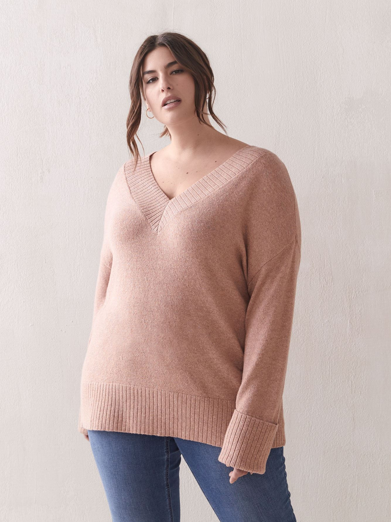 Loose-Fit V-Neck Sweater - Addition Elle