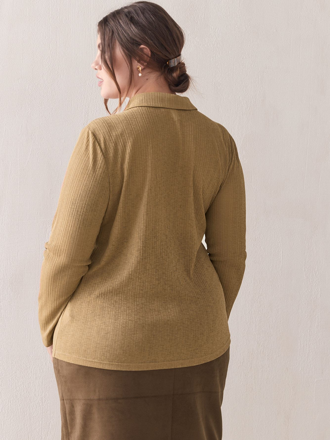 Fine Knit Polo Top - Addition Elle
