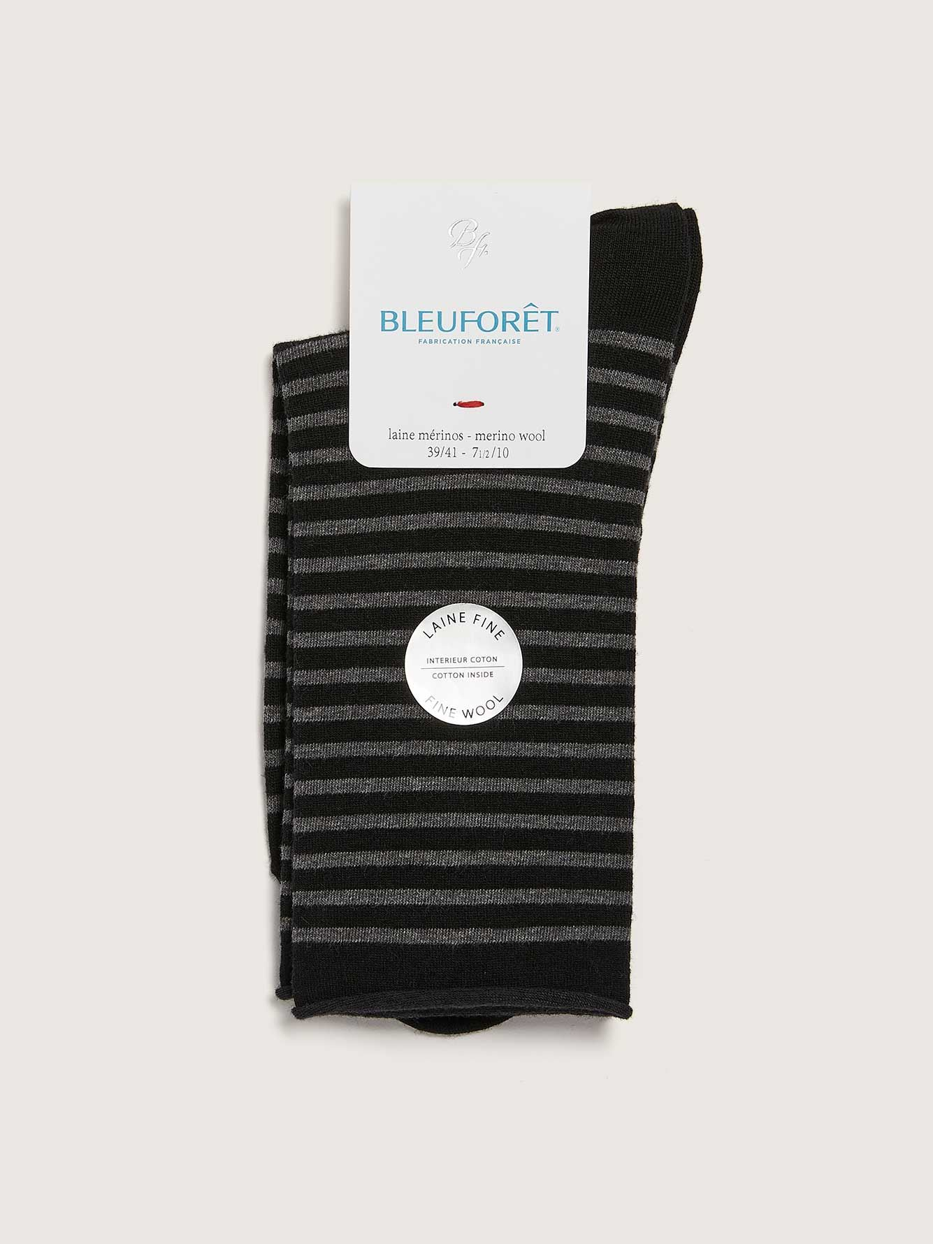 Striped Fine Wool Socks - Bleu Forêt