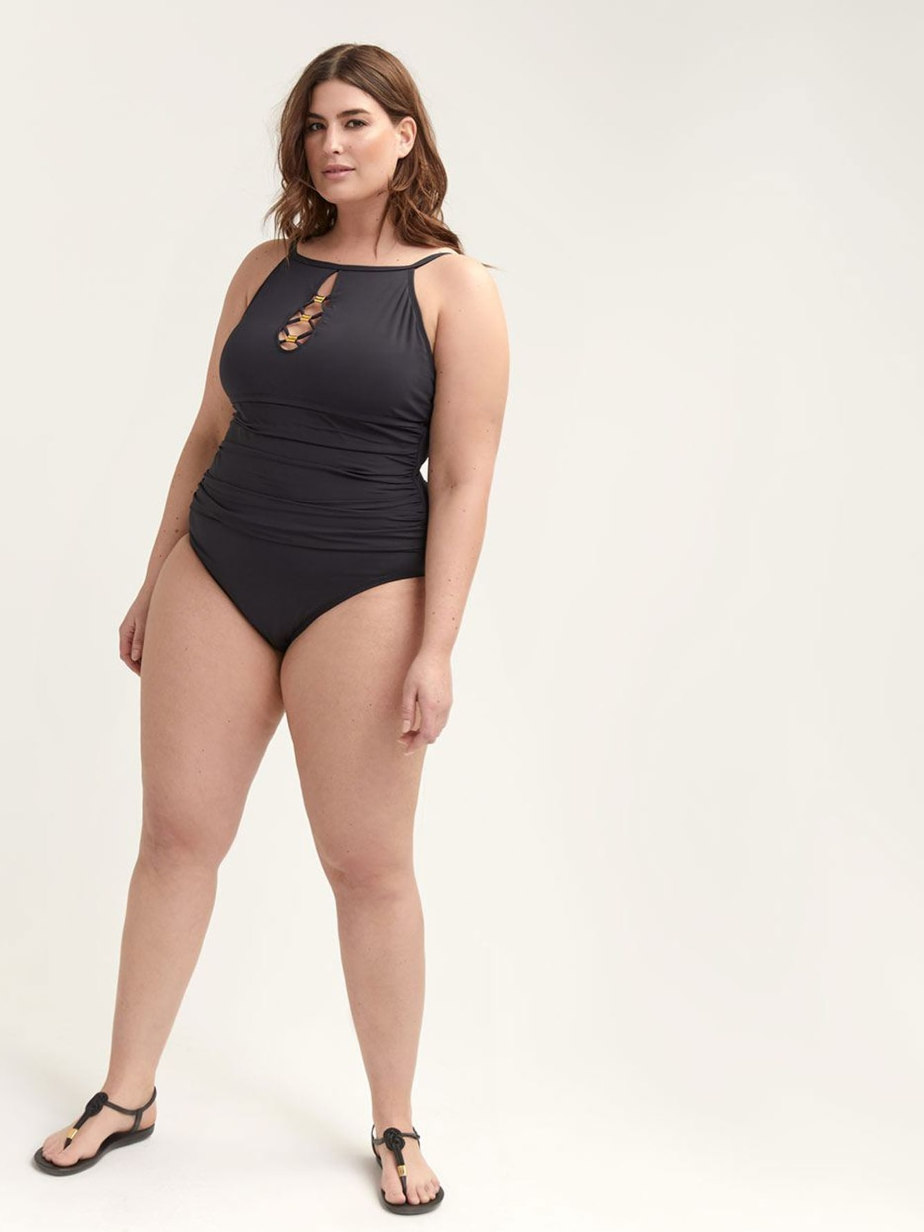 High-Neck One-piece Swimsuit with Laced Details - Bleu Rod Beattie
