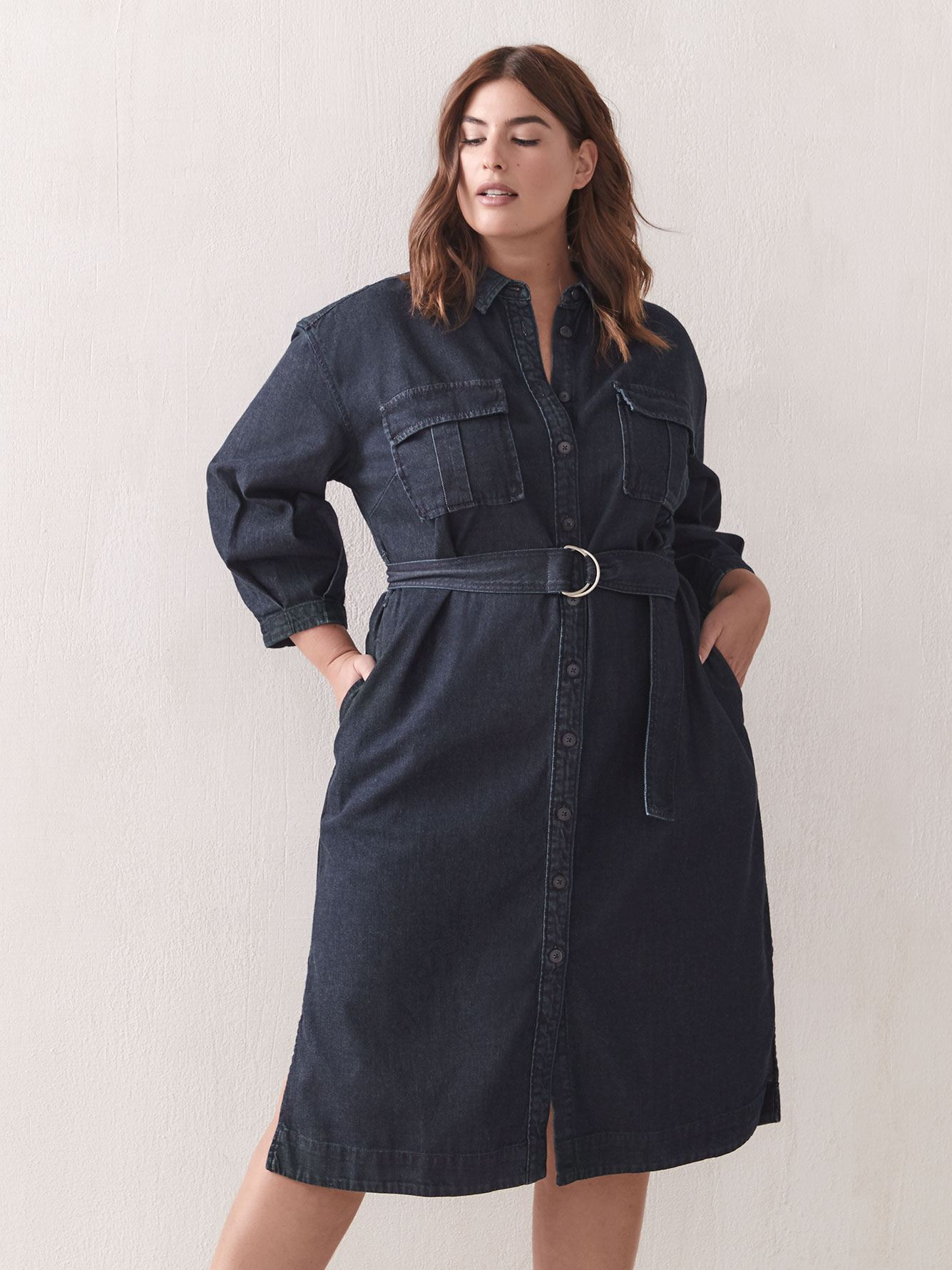 Belted Button-Down Denim Dress - Addition Elle