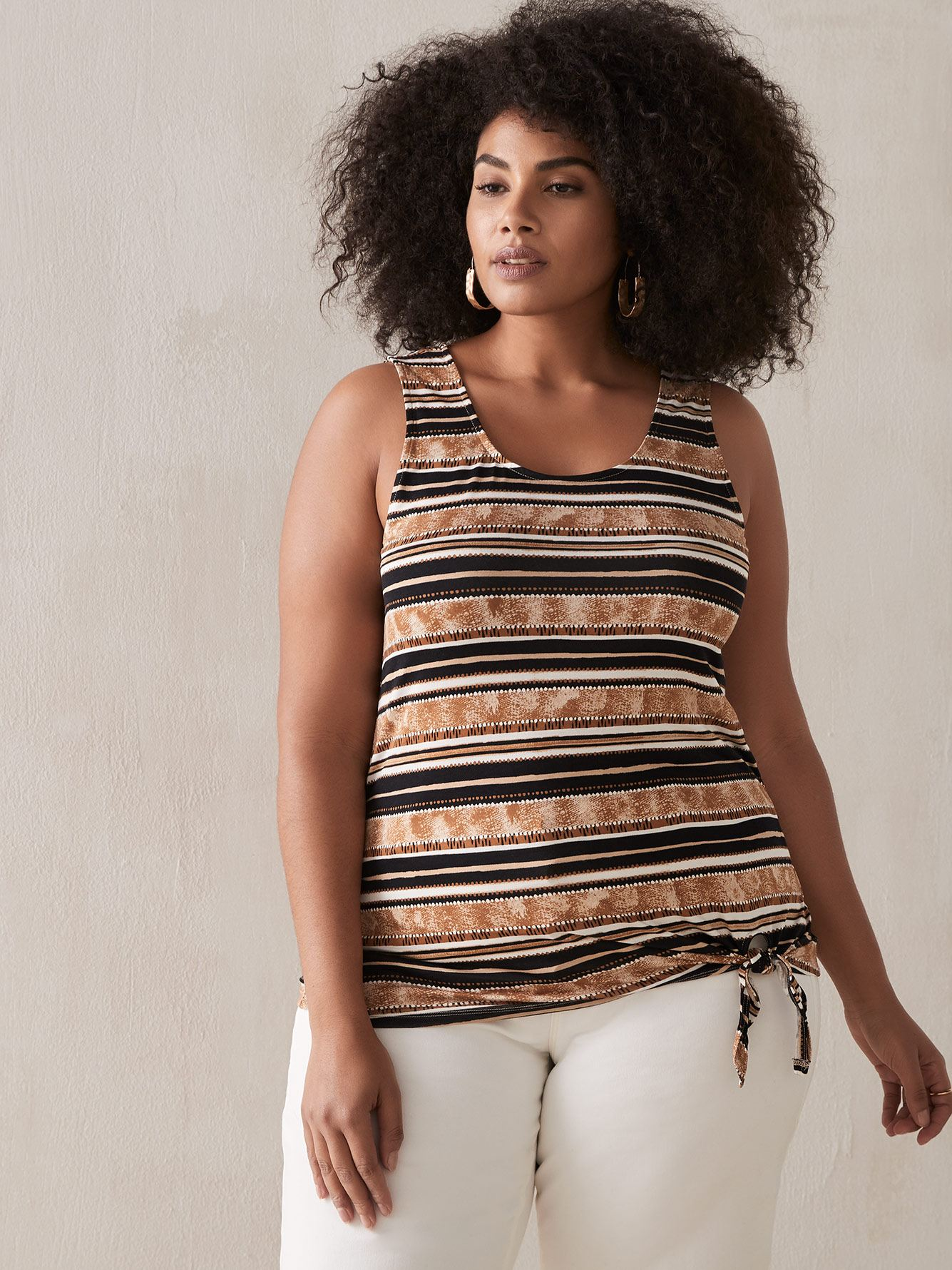 Striped Tie-Front Tank Top