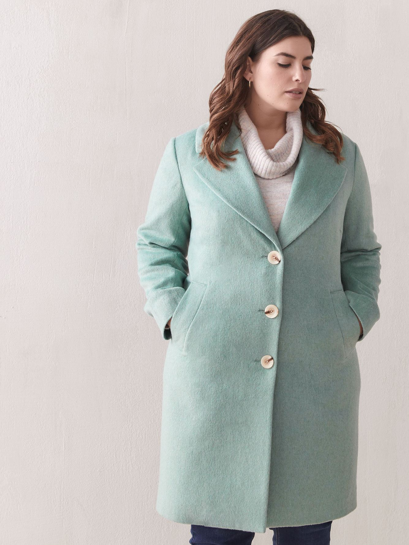 Single Breasted Wool-Blend Coat - Addition Elle