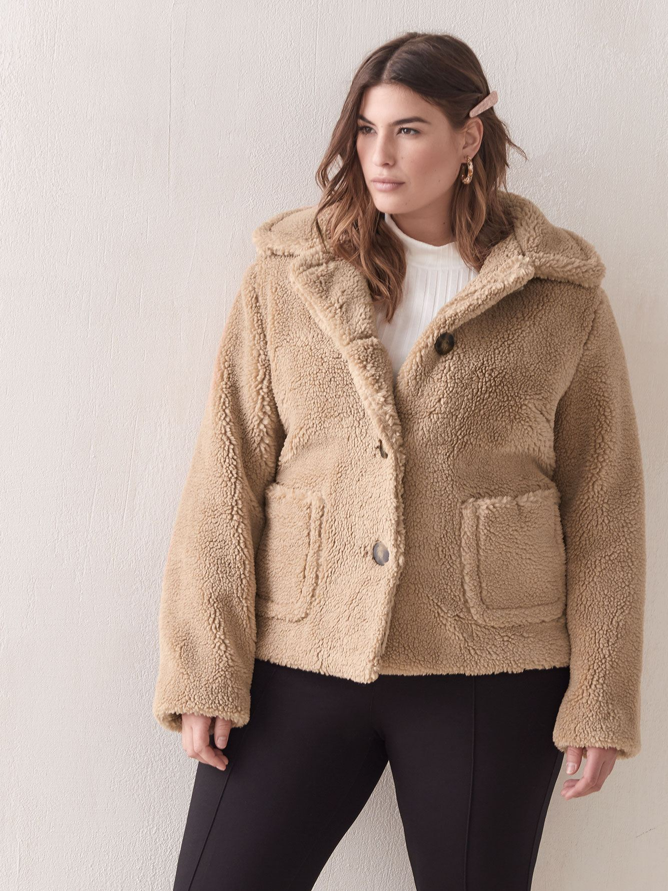 Button-Down Sherpa Coat - Addition Elle