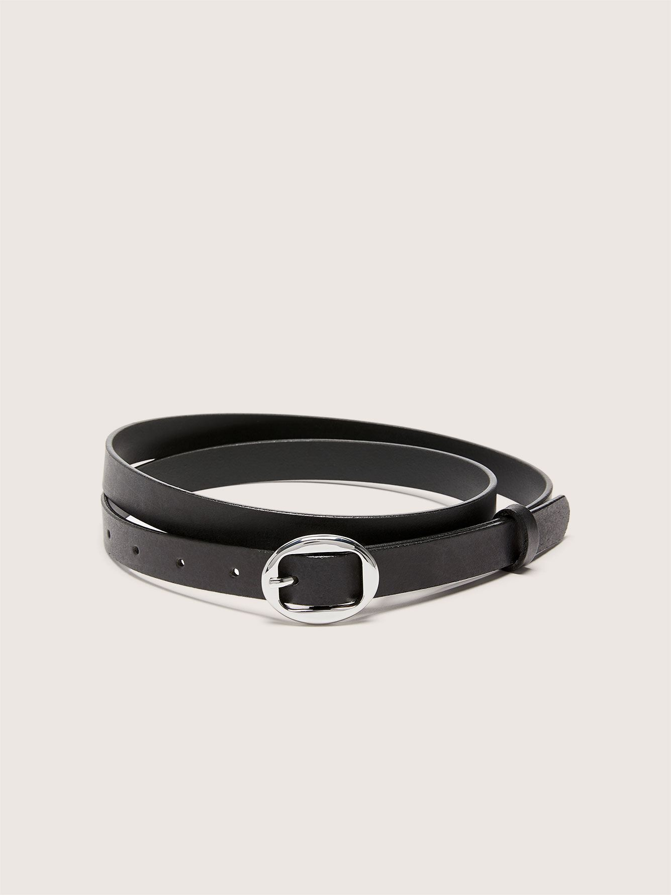 Skinny Leather Belt with Round Buckle - Addition Elle