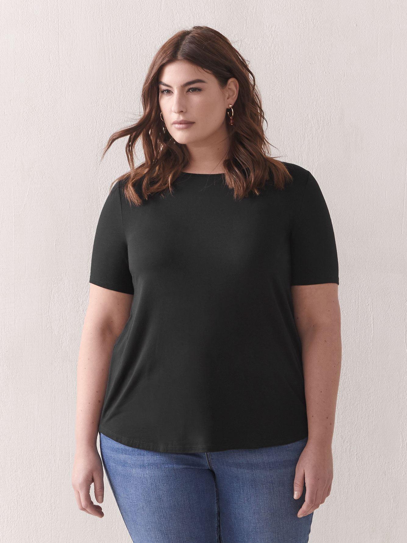Modern Viscose Elastane T-Shirt - Addition Elle