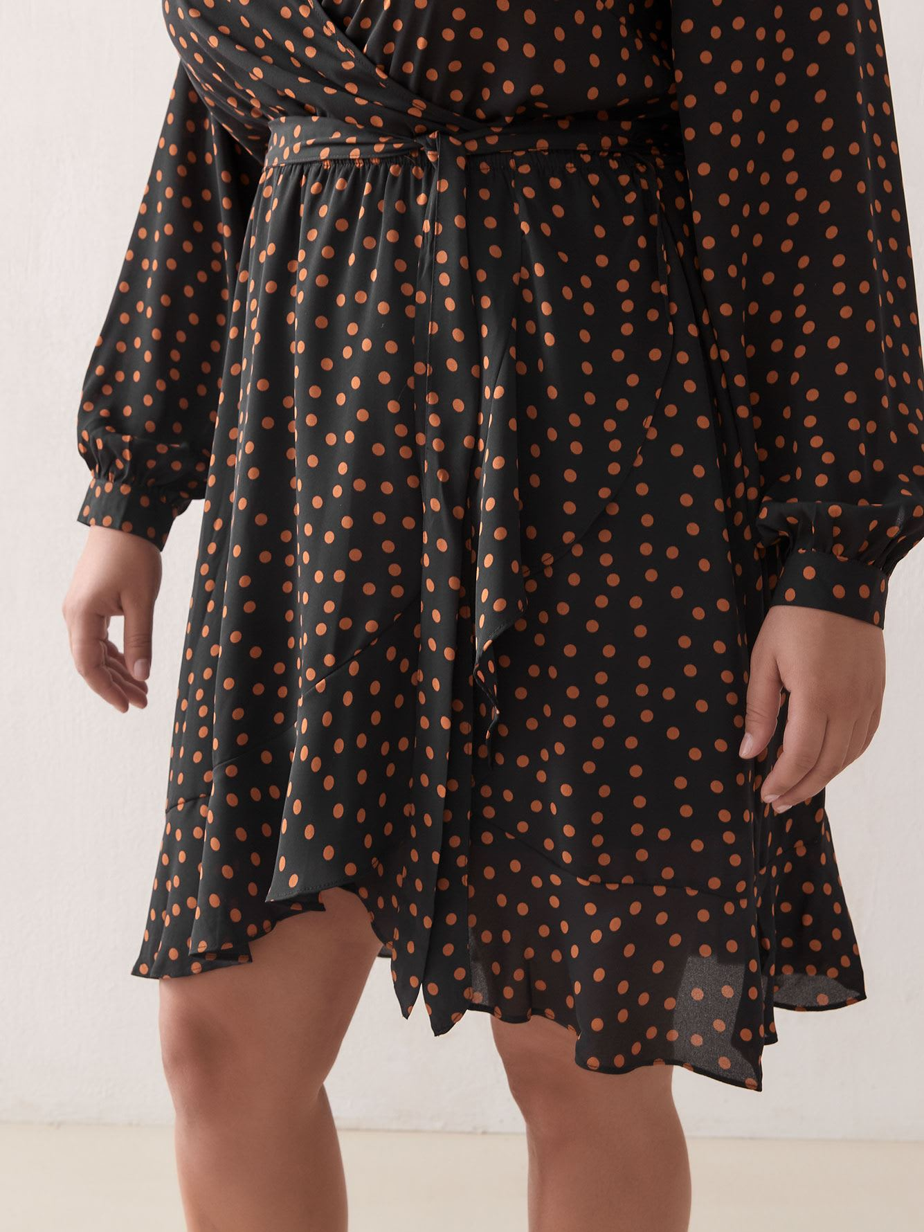 Polka Dot Georgette Wrap Dress - City Chic