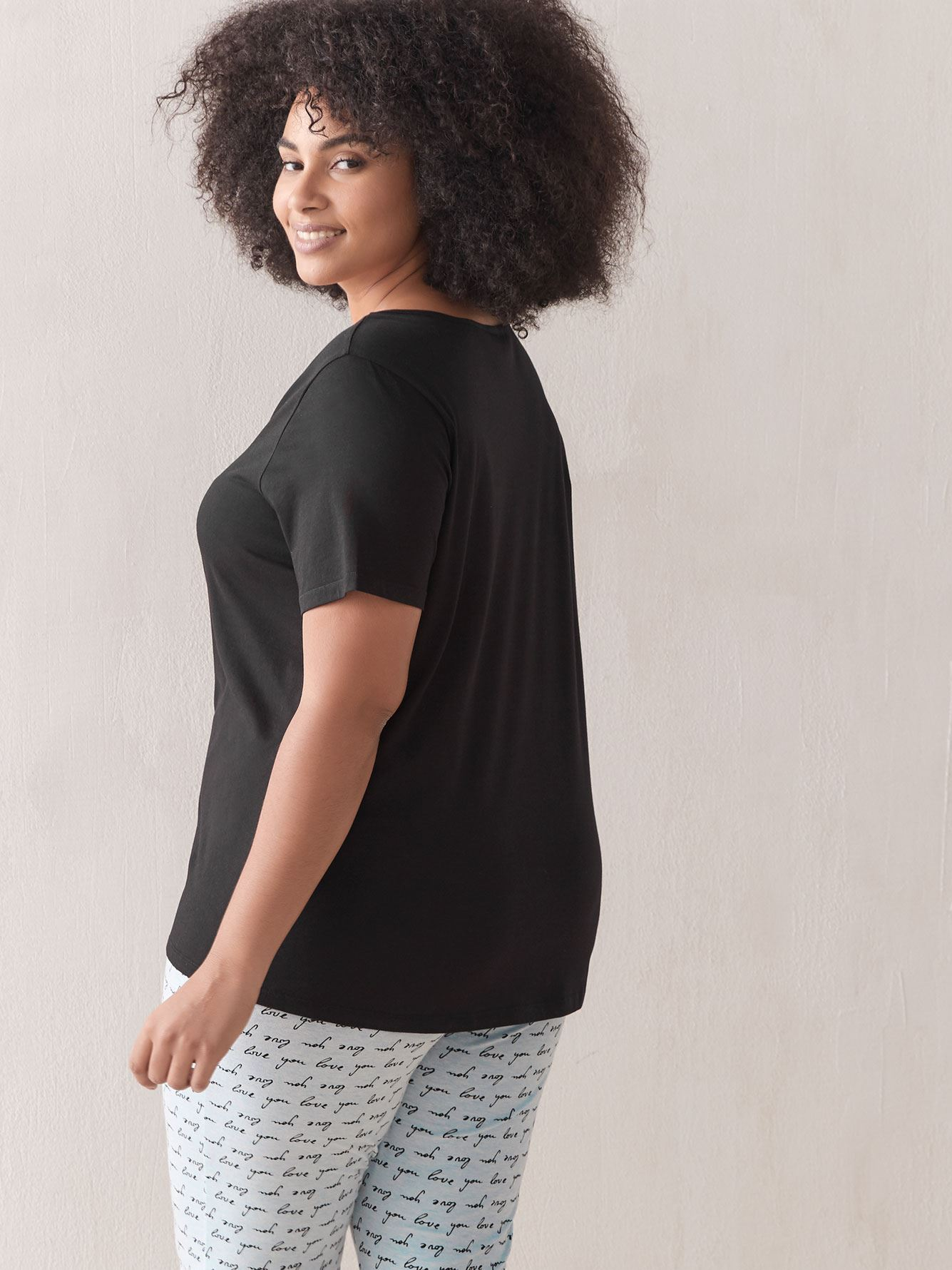 Solid Pyjama T-Shirt with Criss-Cross Details - Addition Elle
