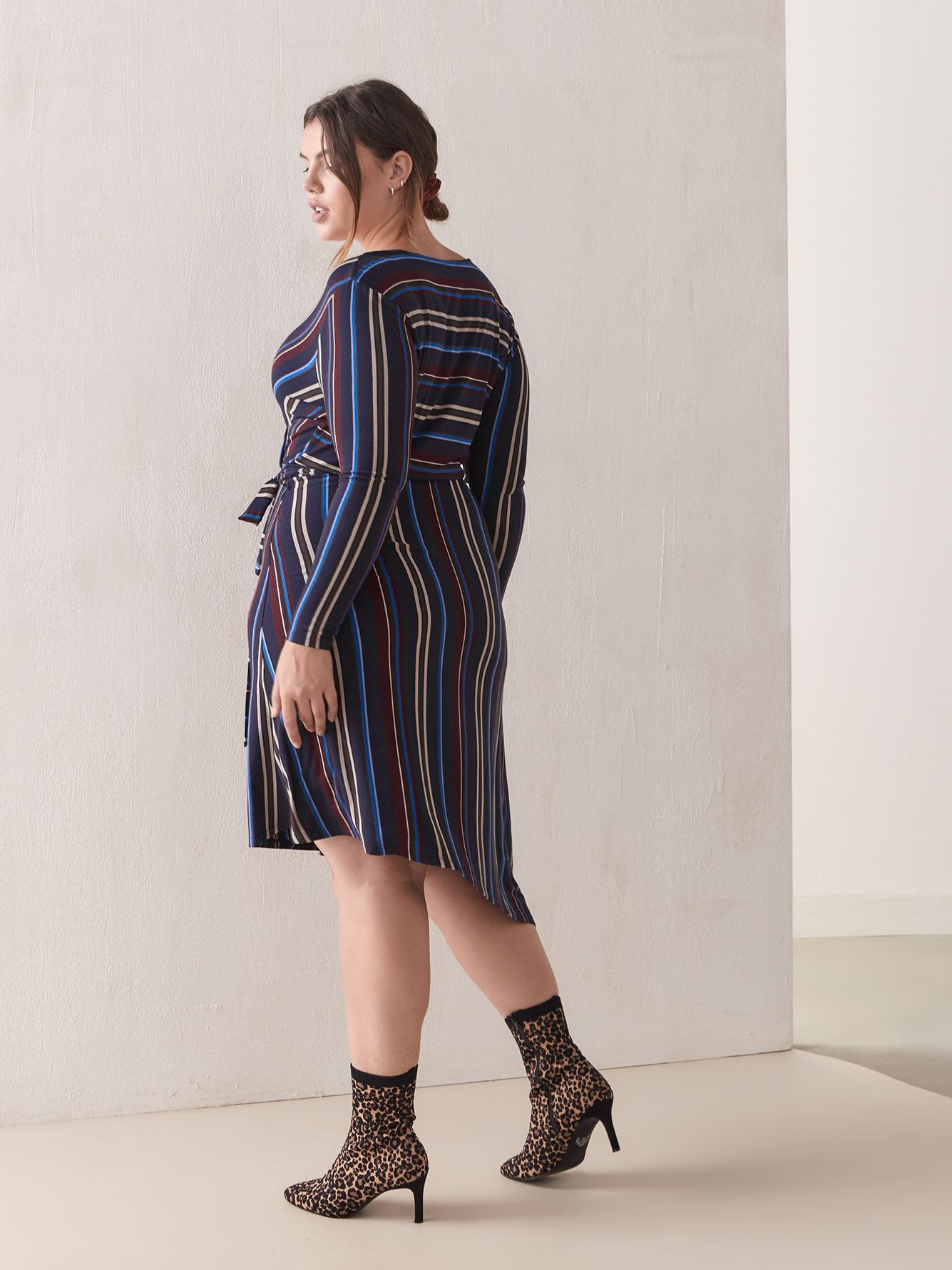 Striped Faux-Wrap Dress - Addition Elle