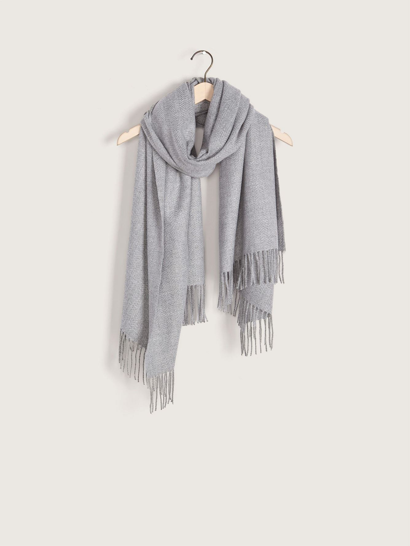 Textured Solid Blanket Scarf with Fringe - Addition Elle