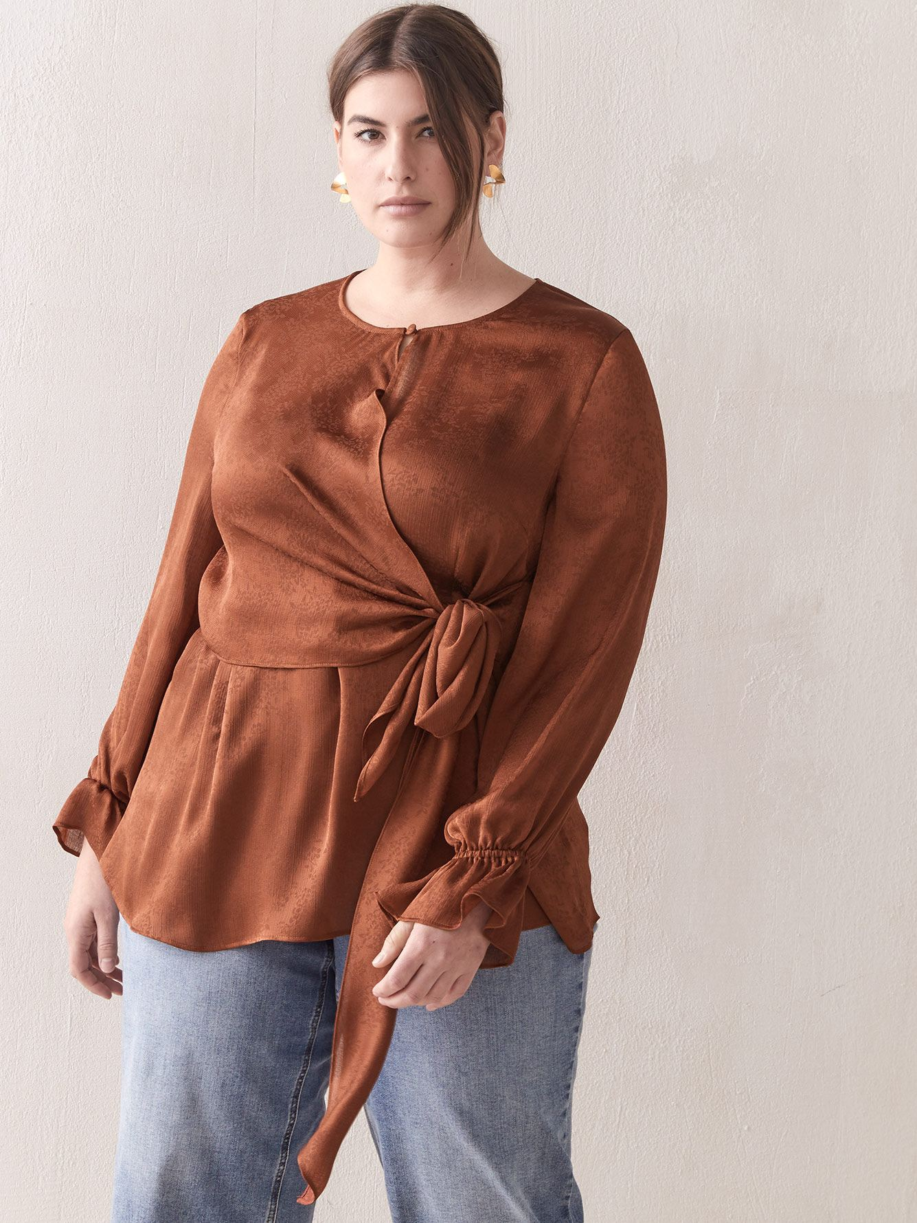 Silky Tie-Front Blouse - Addition Elle