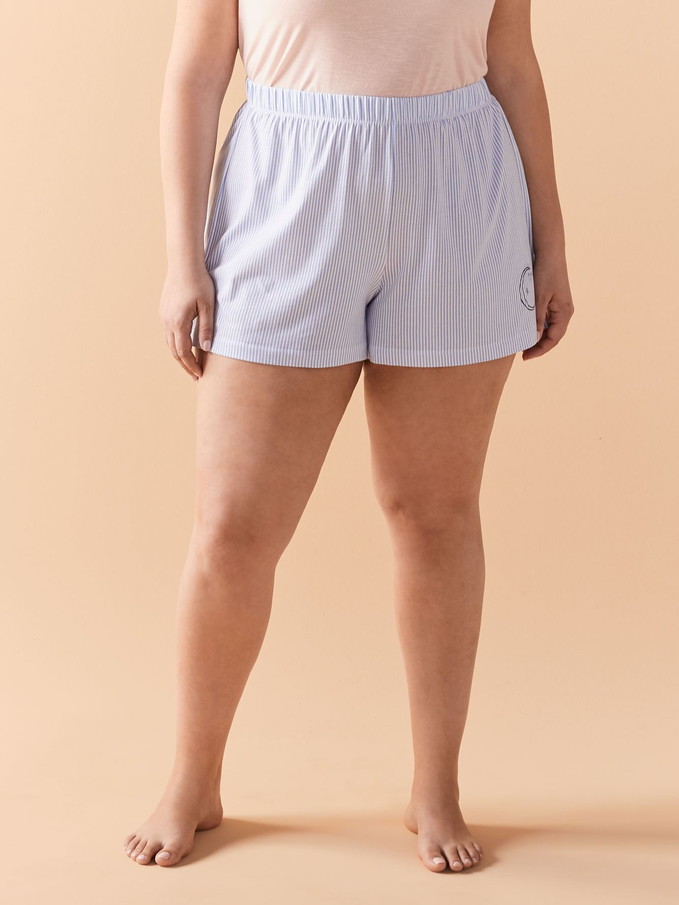 Striped & Embroidered PJ Short - Addition Elle