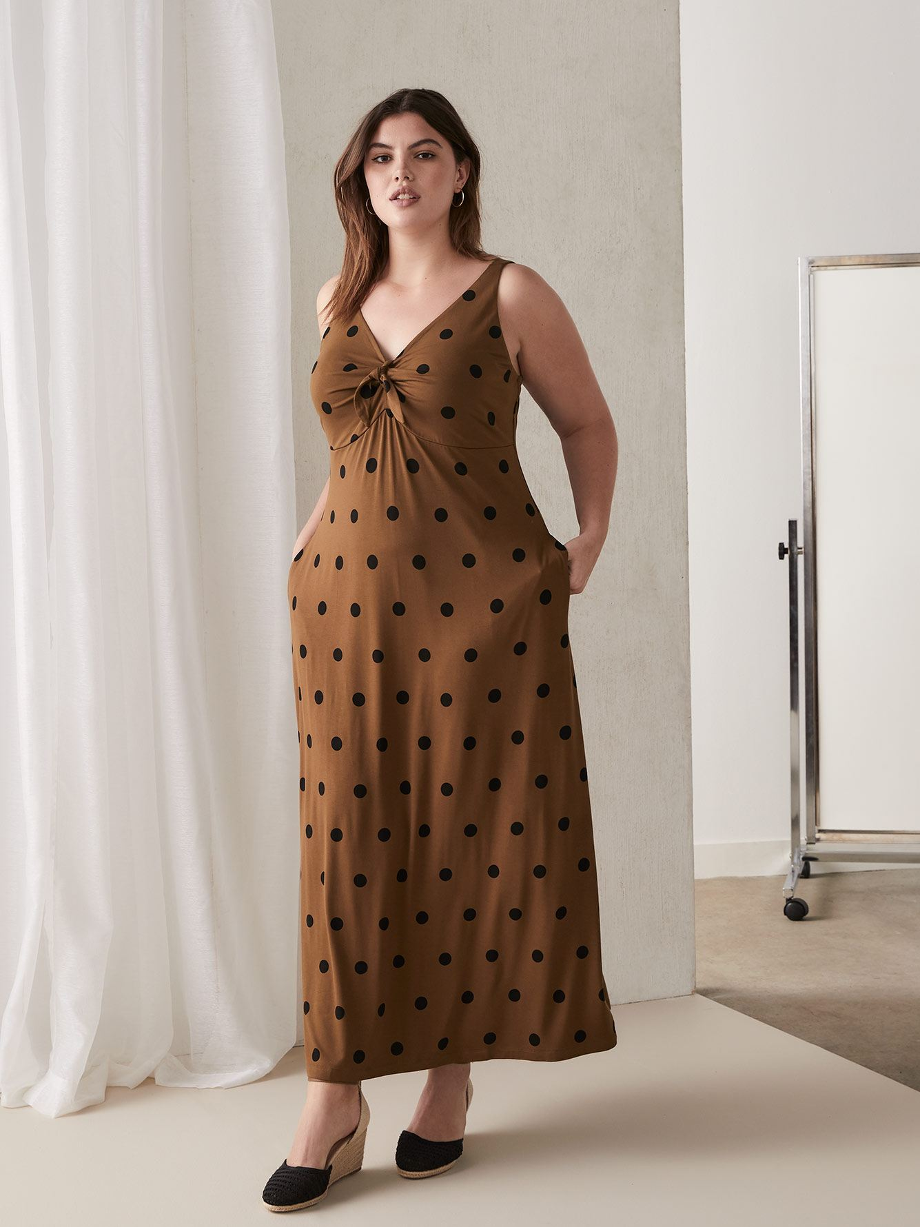Polka Dot Maxi Dress with Front Bow