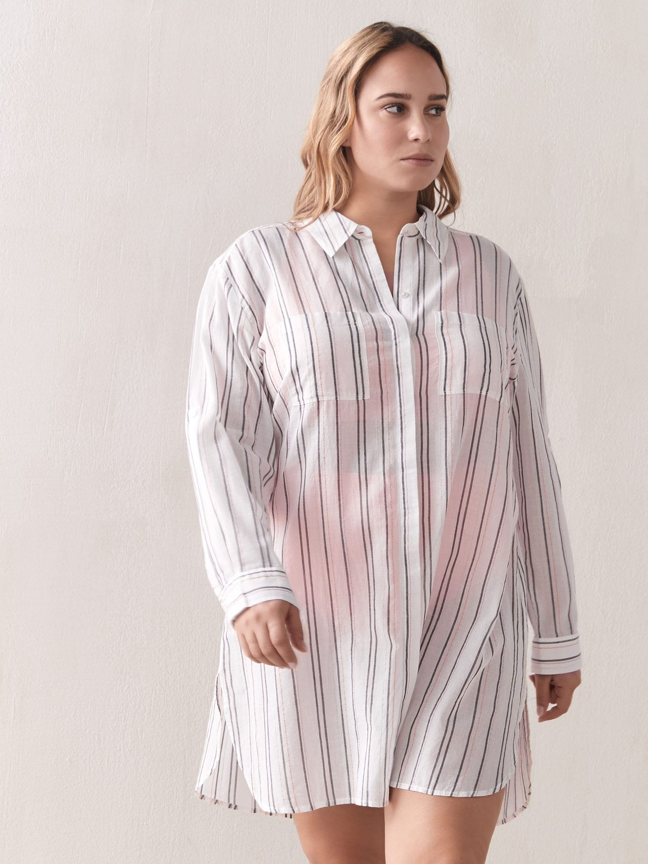 Striped Button-Down Swim Cover-Up - Addition Elle