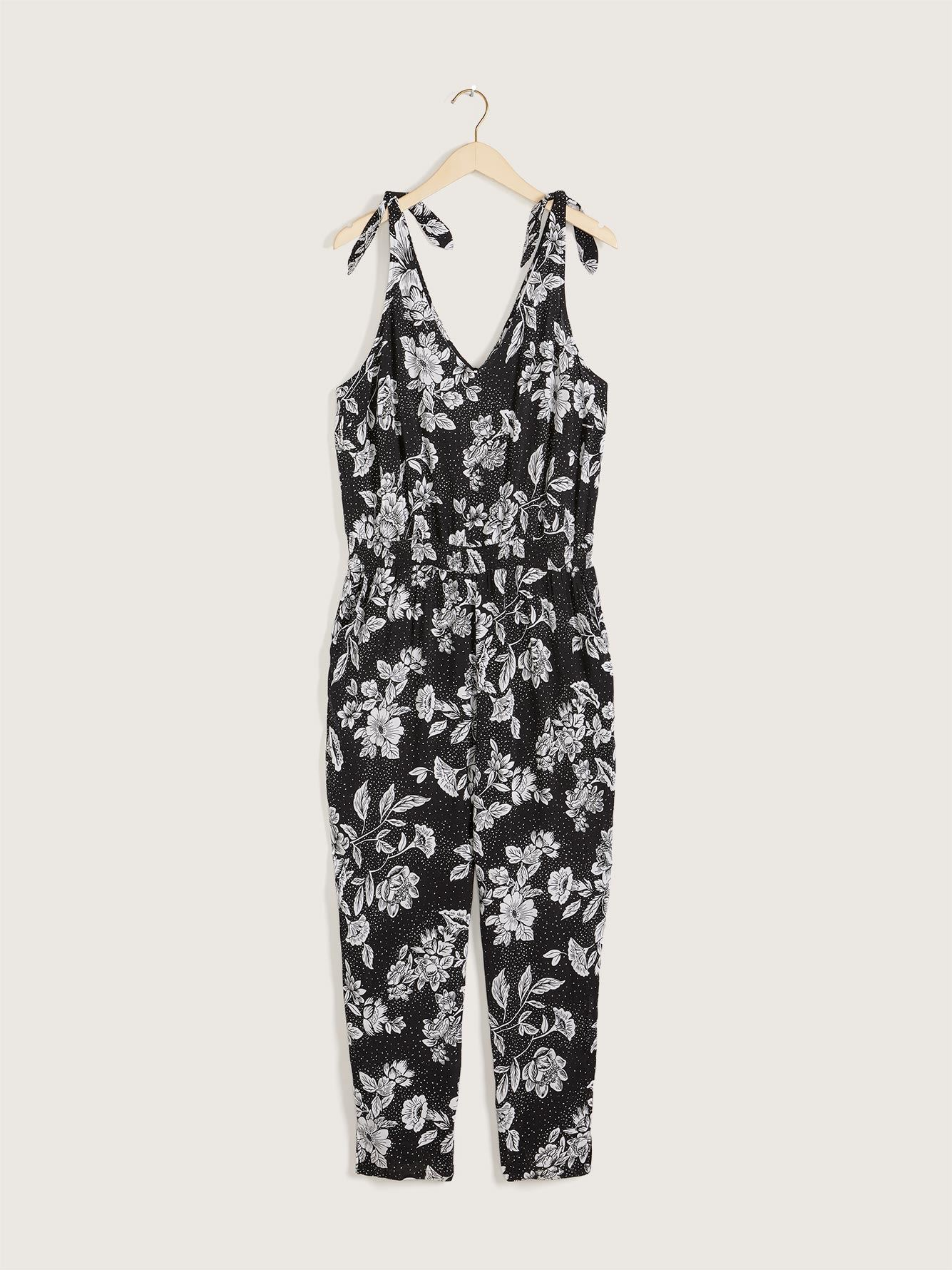 Sleeveless Jumpsuit with Knotted Straps - Addition Elle