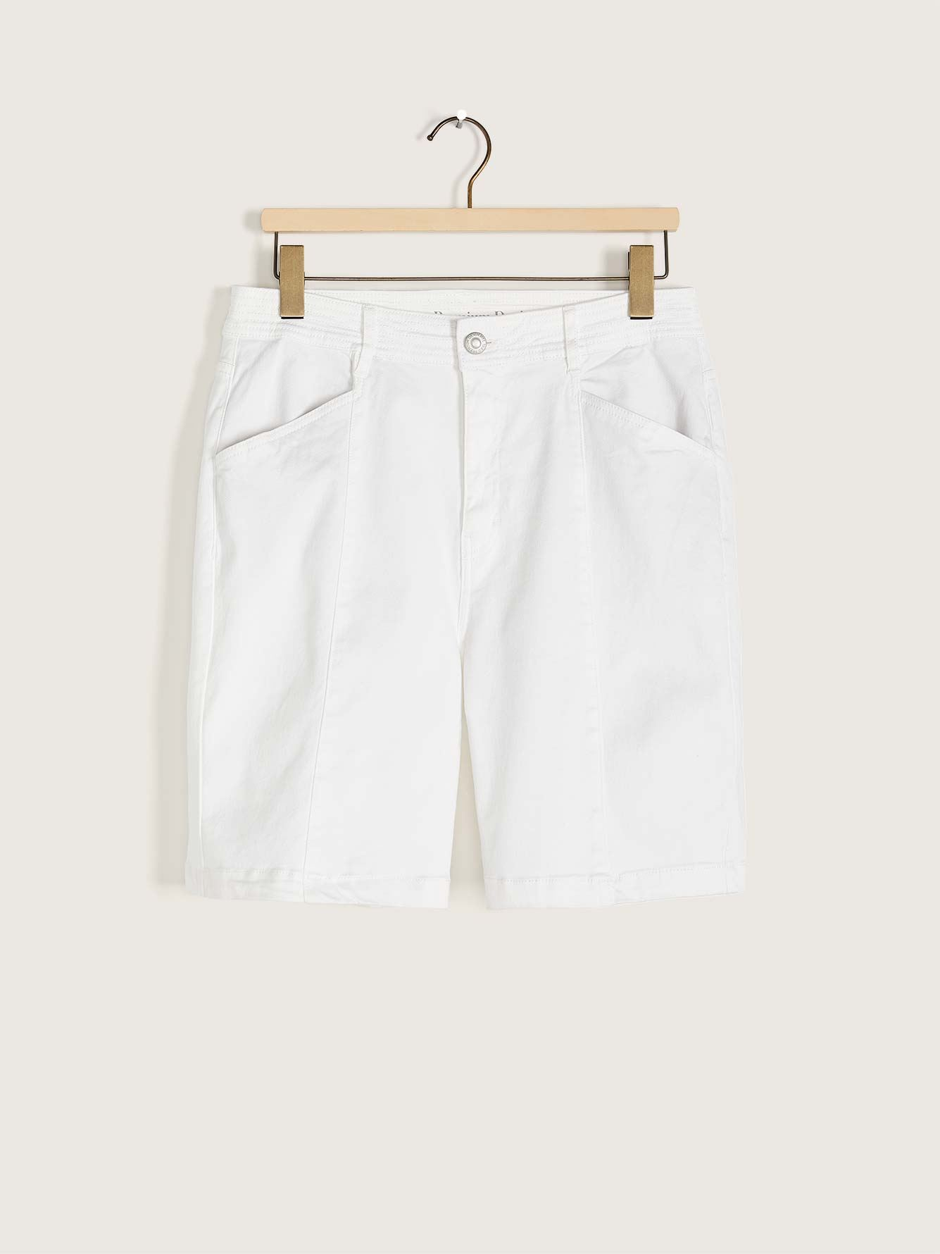 Buttoned White Denim Short - Addition Elle