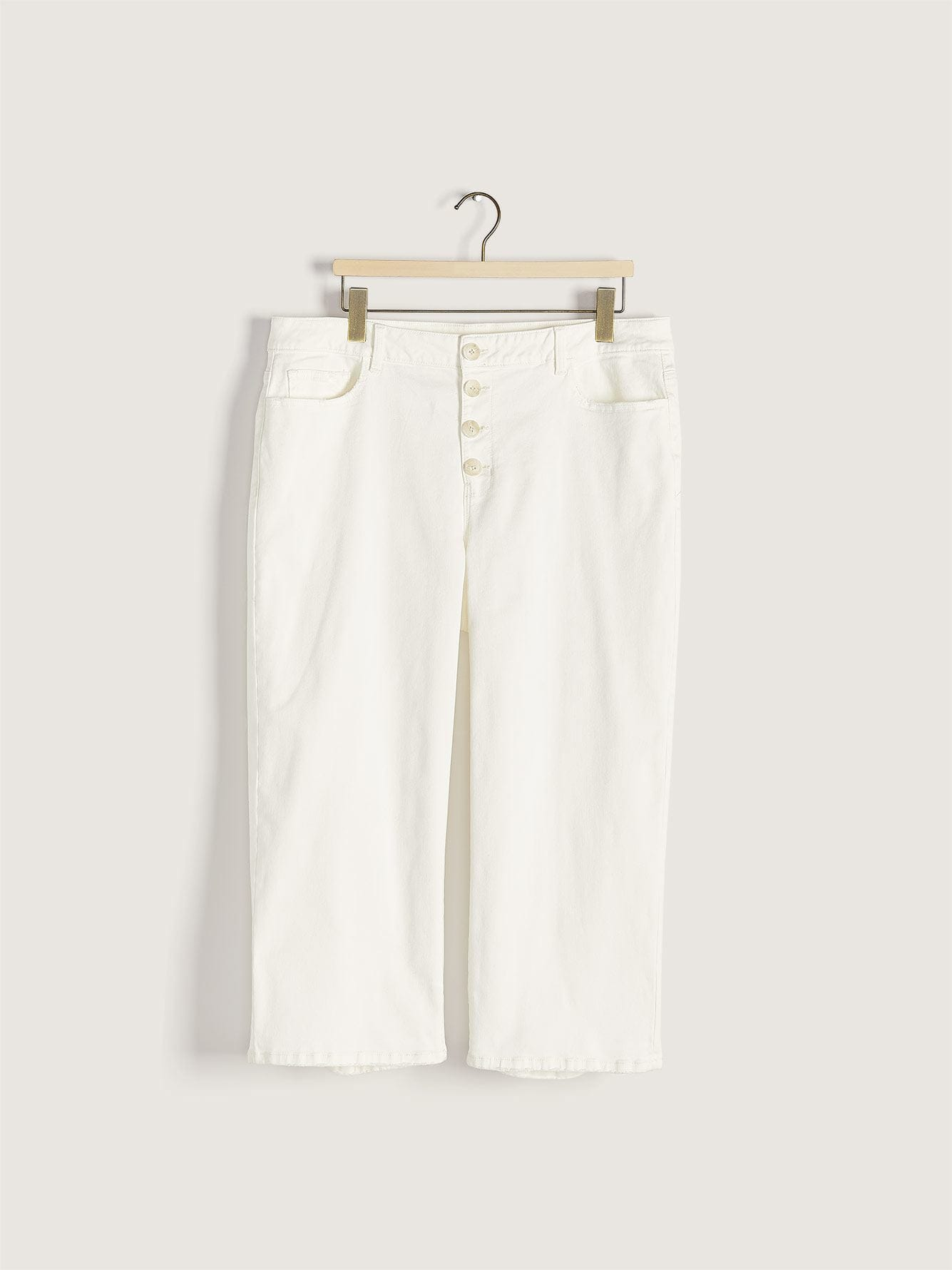 Cropped Wide Leg Denim Pant with Exposed Button-Fly