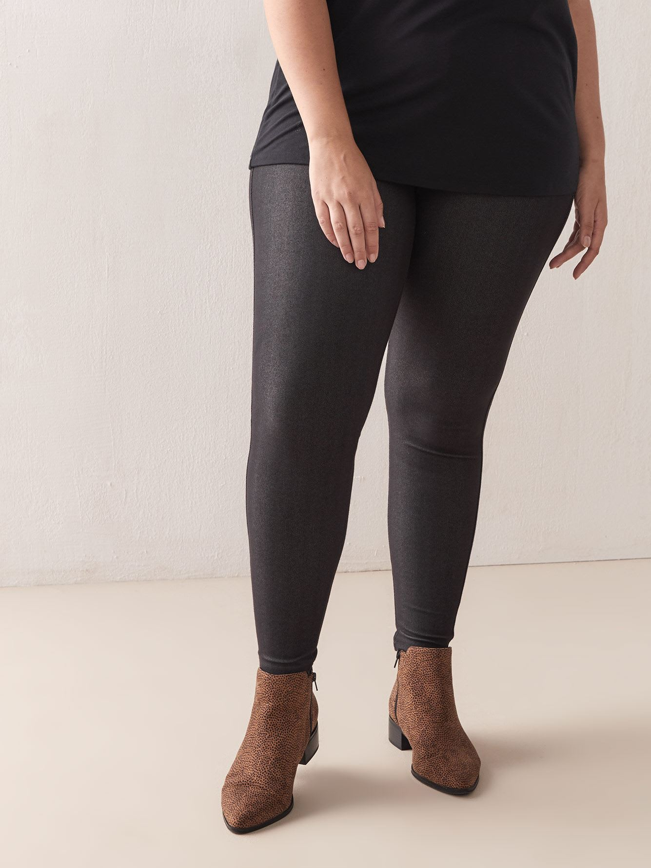 Tall, Solid Denim Leggings with Elastic Waistband - Addition Elle