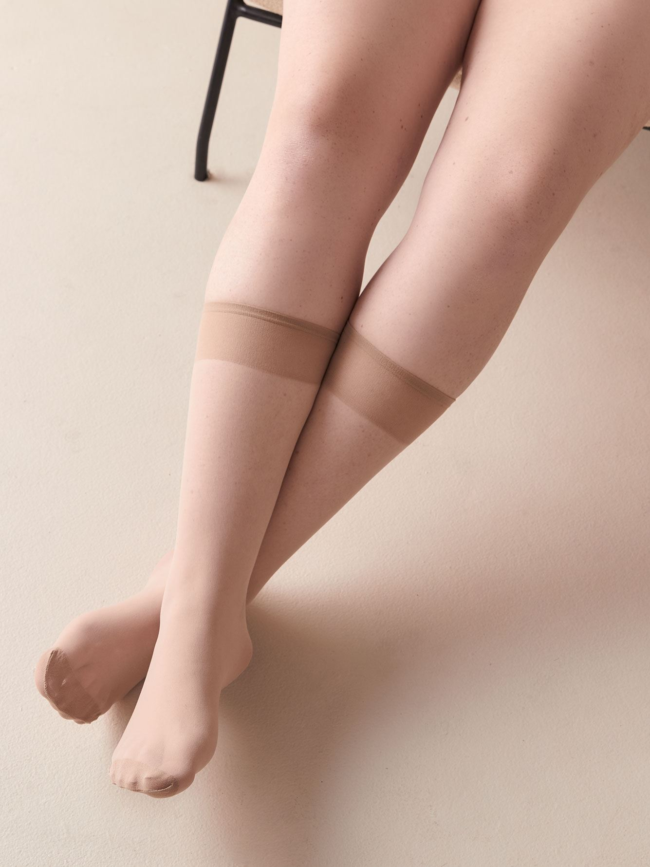 3 Pairs of Solid Knee High Nylons - Addition Elle