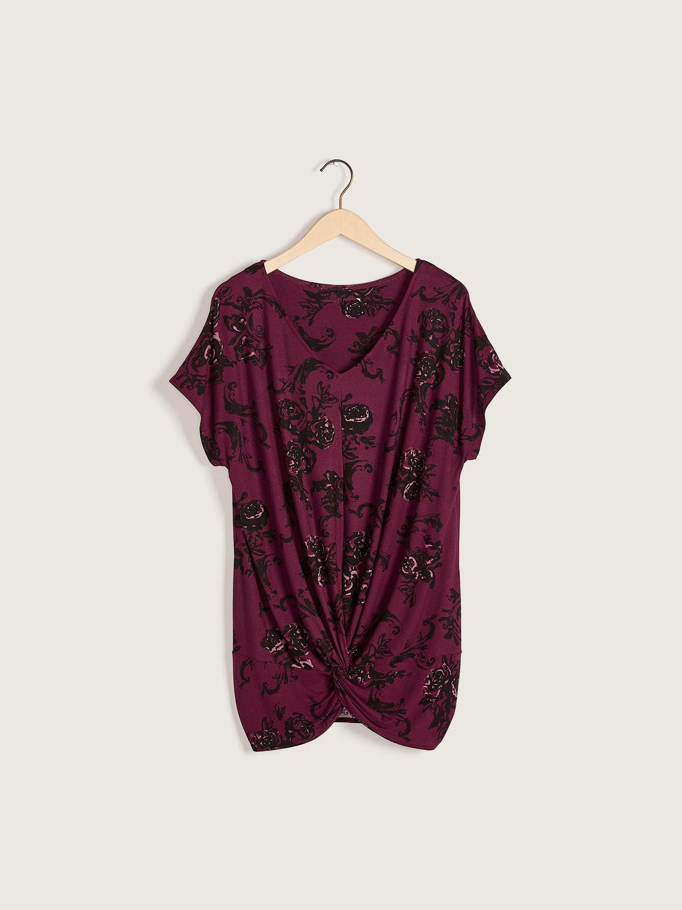 Printed Short-Sleeve Top with Twisted Front