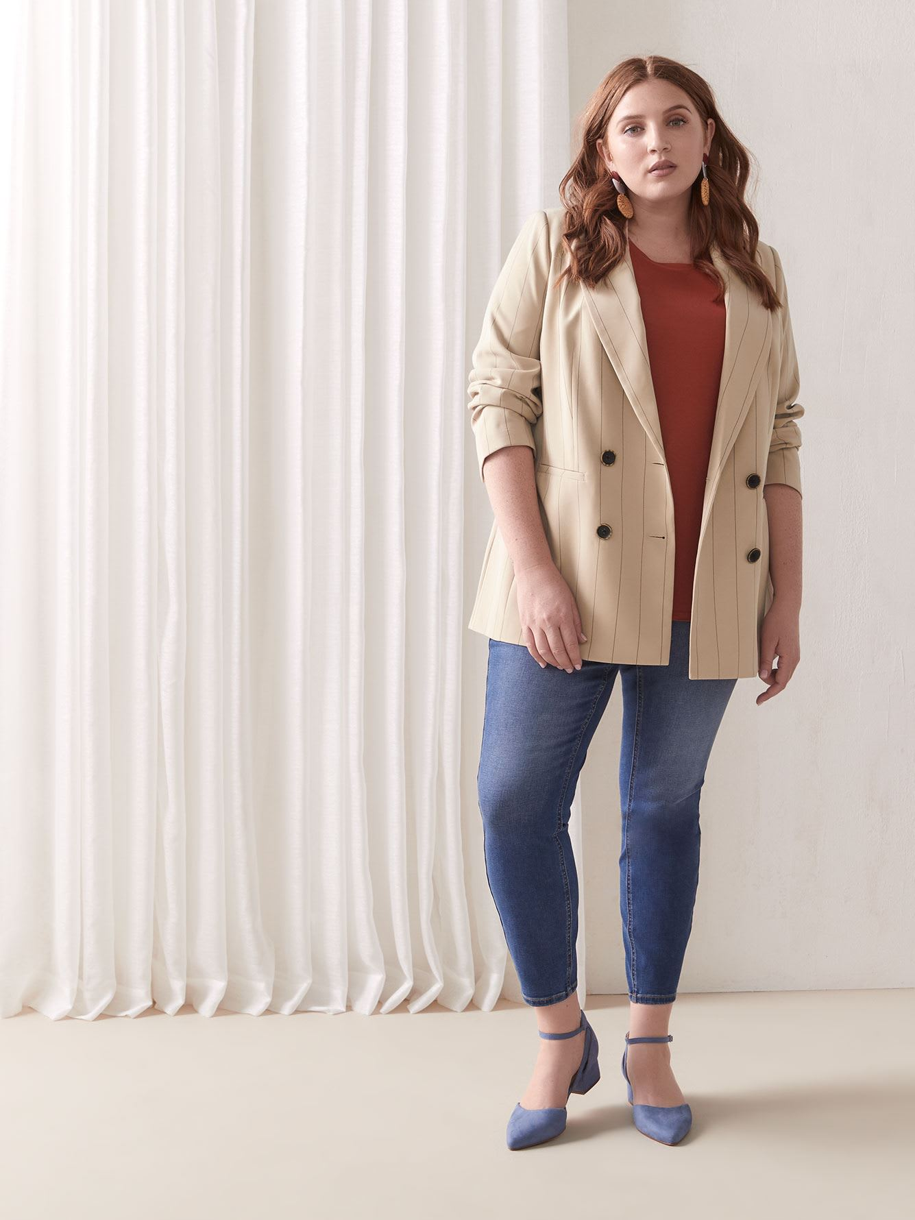Double-Breasted Striped Blazer - Addition Elle