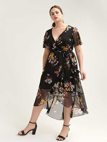 High-Low Mesh Floral Dress with Flutter Sleeves