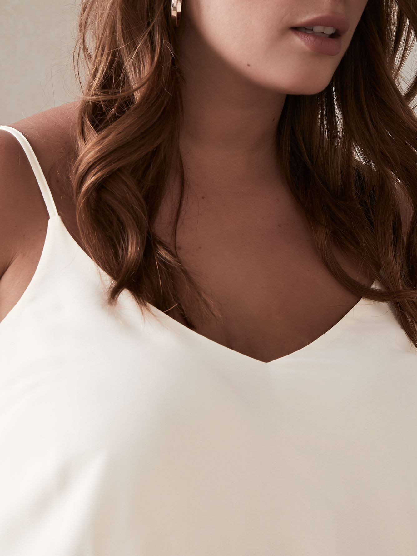 Silky V-Neck Camisole with Adjustable Straps