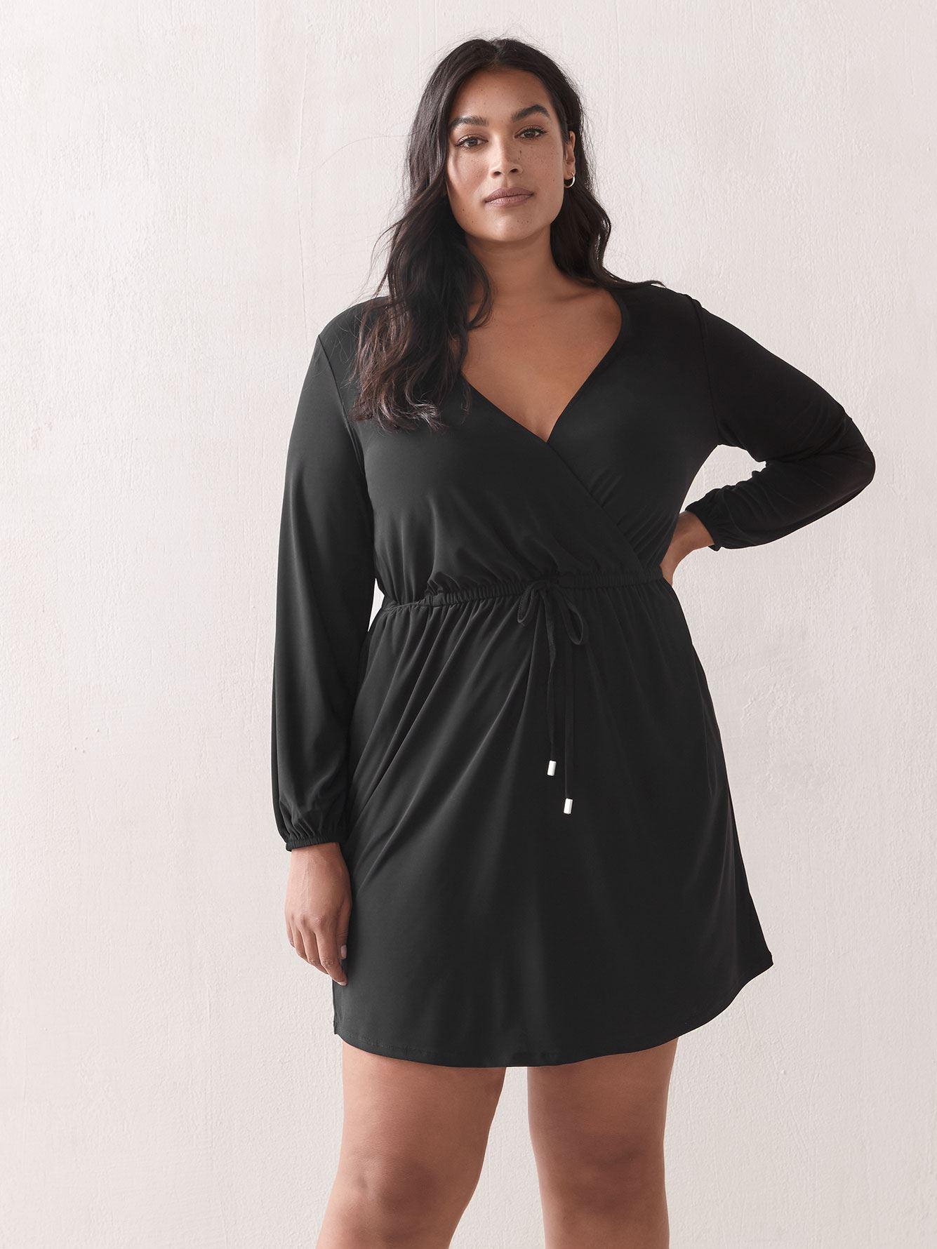 Faux-Wrap Shirt Dress - Addition Elle