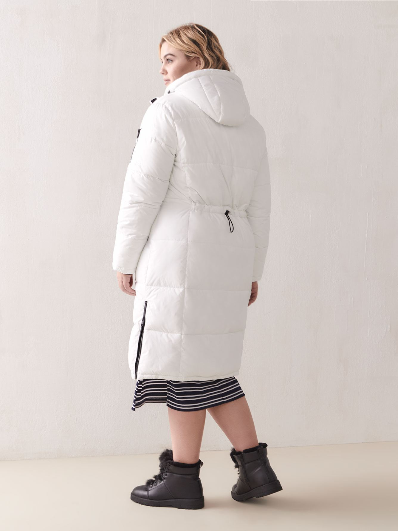 Atlantic White Long Puffer Coat - Addition Elle
