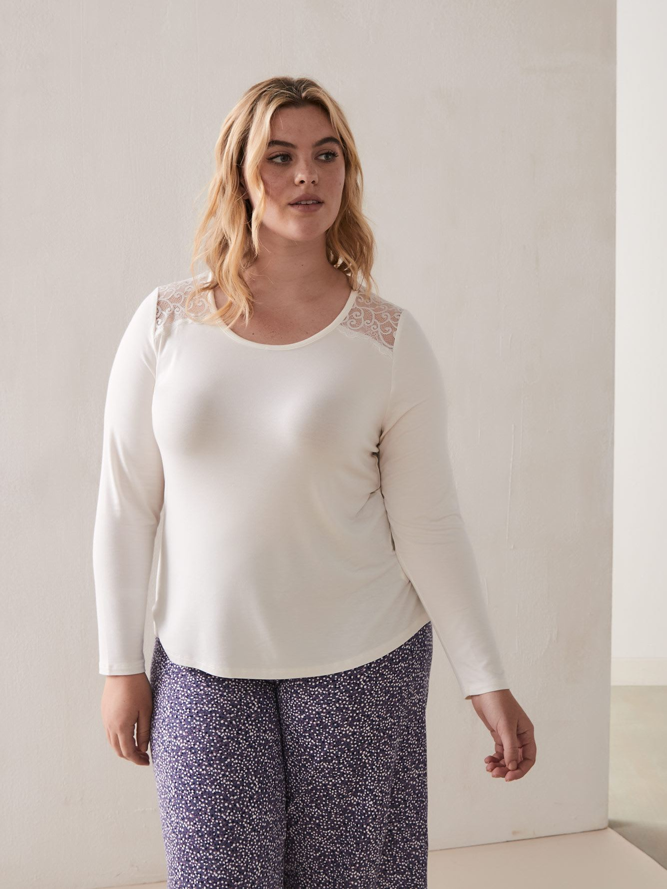 Scoop Neck Long Sleeve Tee with Lace Inserts - Déesse Collection