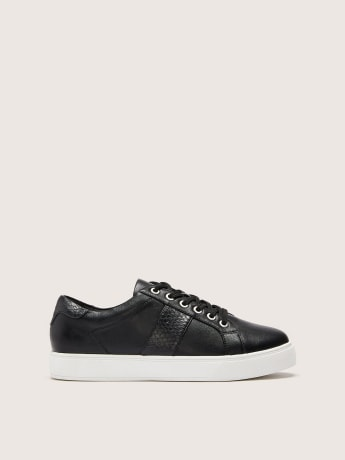 Wide Lace-Up Sneakers with Croco Trim - Addition Elle