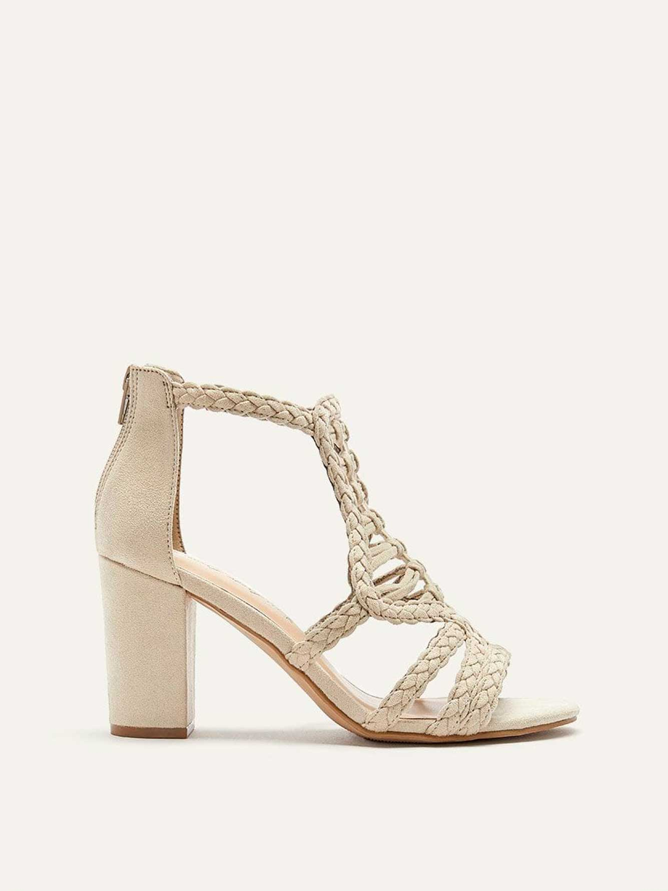 Wide Macramé Lace Block Heel Sandals