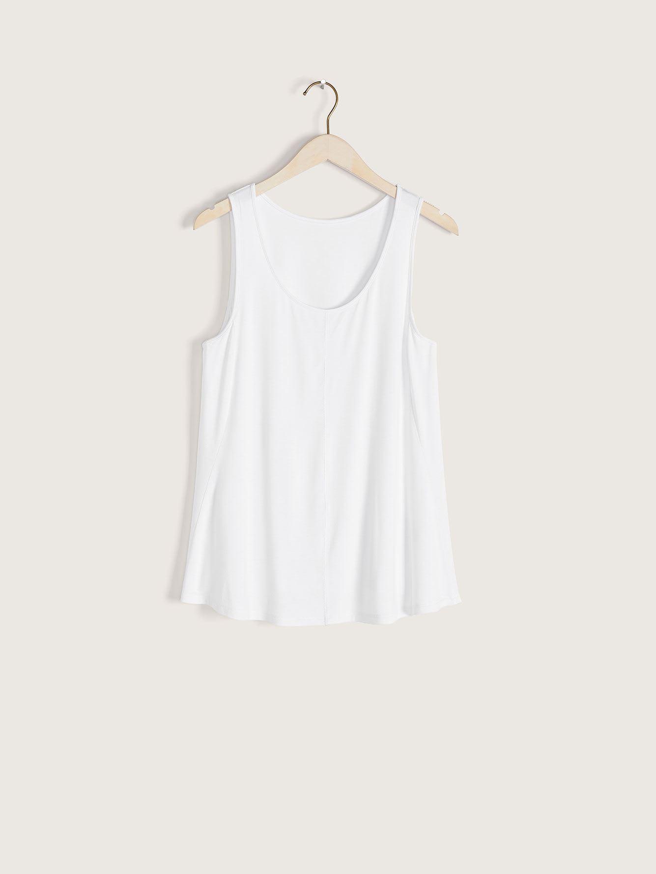 White Scoop-Neck Swing Tank - Addition Elle