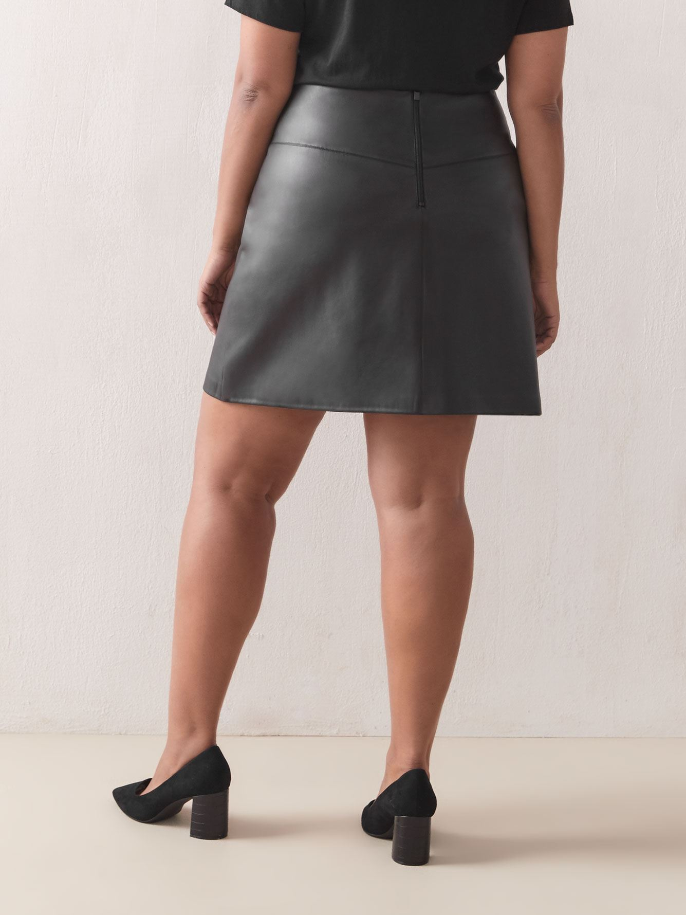 Faux-Leather High-Waist Skirt - Addition Elle
