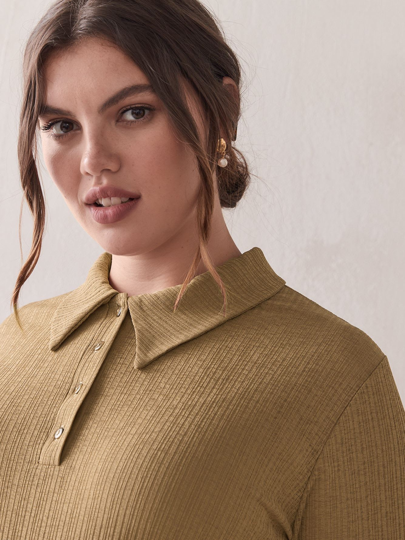 Chandail polo fin manches longues - Addition Elle
