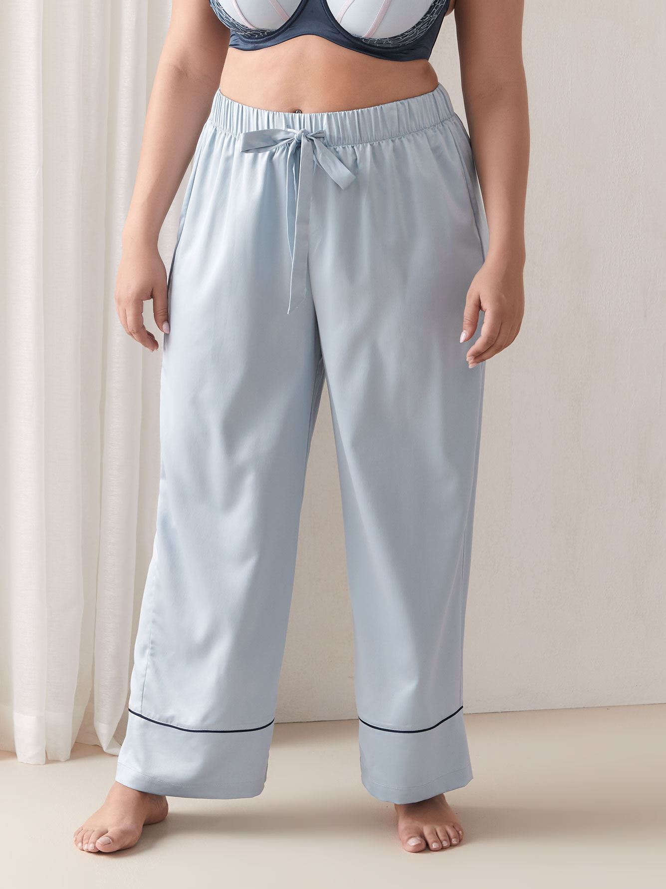 Tailored PJ Pants with Piping Detail - Ashley Graham