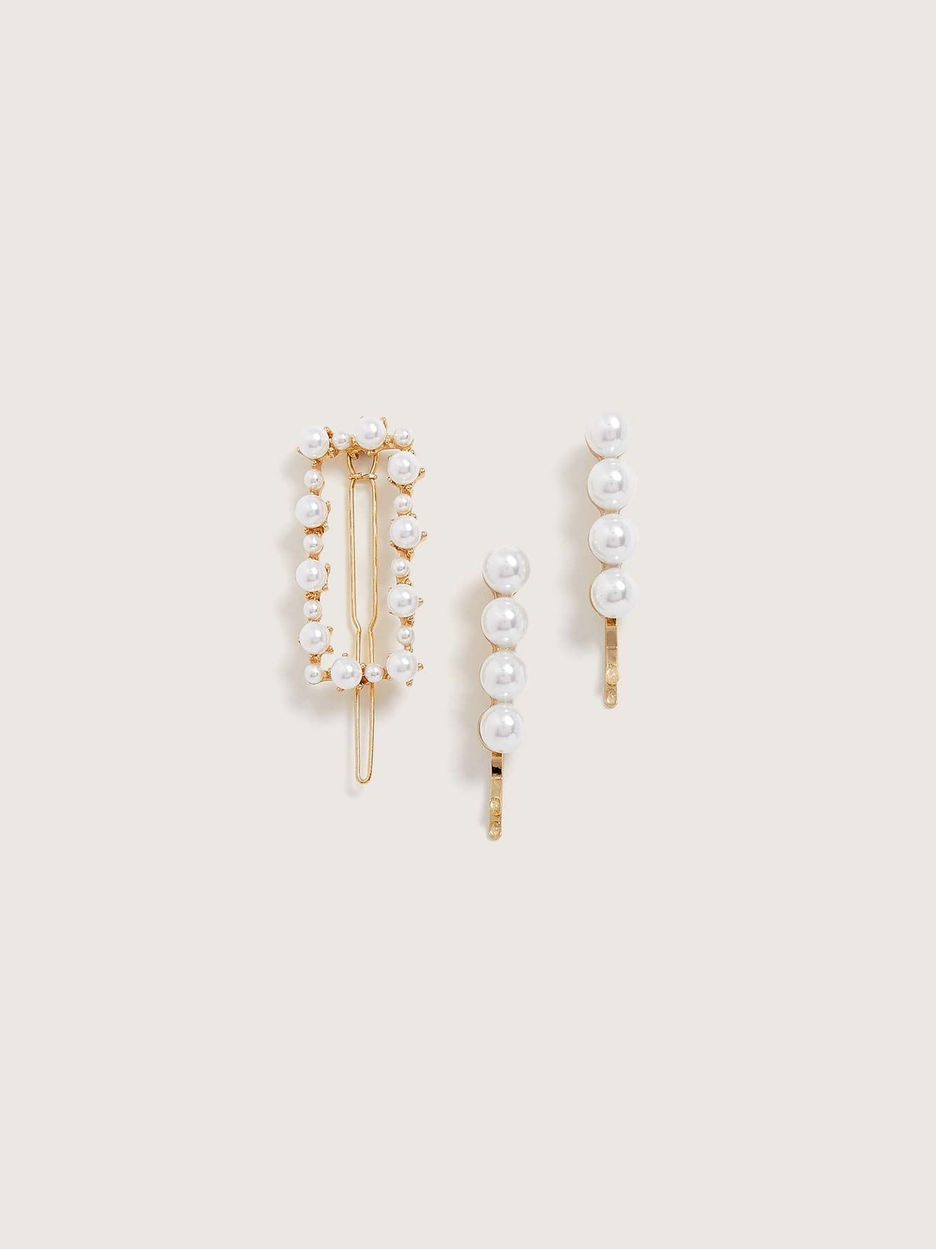 Faux Pearl Barrette and Clips, Pack of 3 - Addition Elle