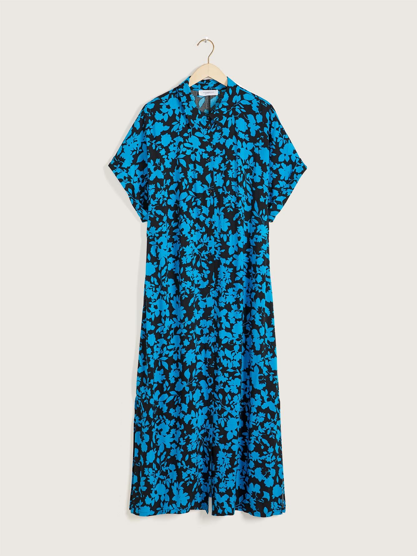 Long Printed Shirt Dress - Addition Elle