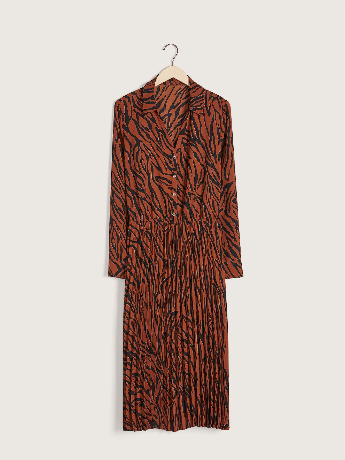 Pleated Midi Zebra Dress - Addition Elle