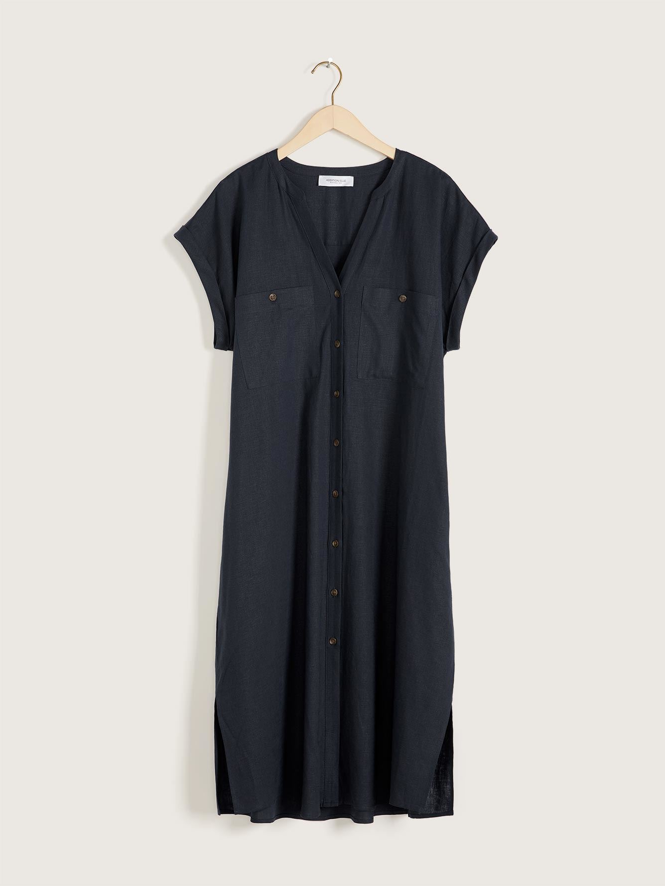 Solid Short Sleeve Linen Dress - Addition Elle