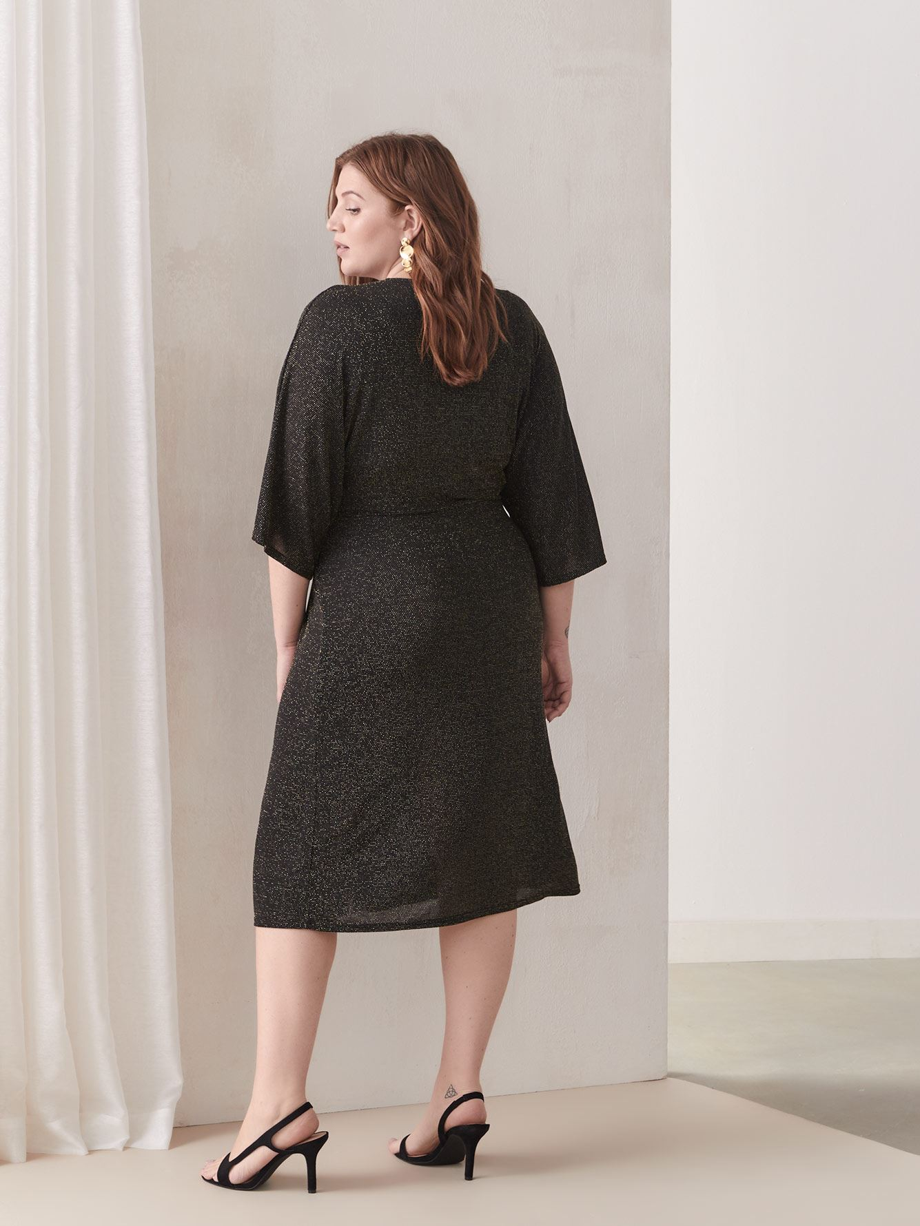 Knot-Front Lurex Dress - Addition Elle