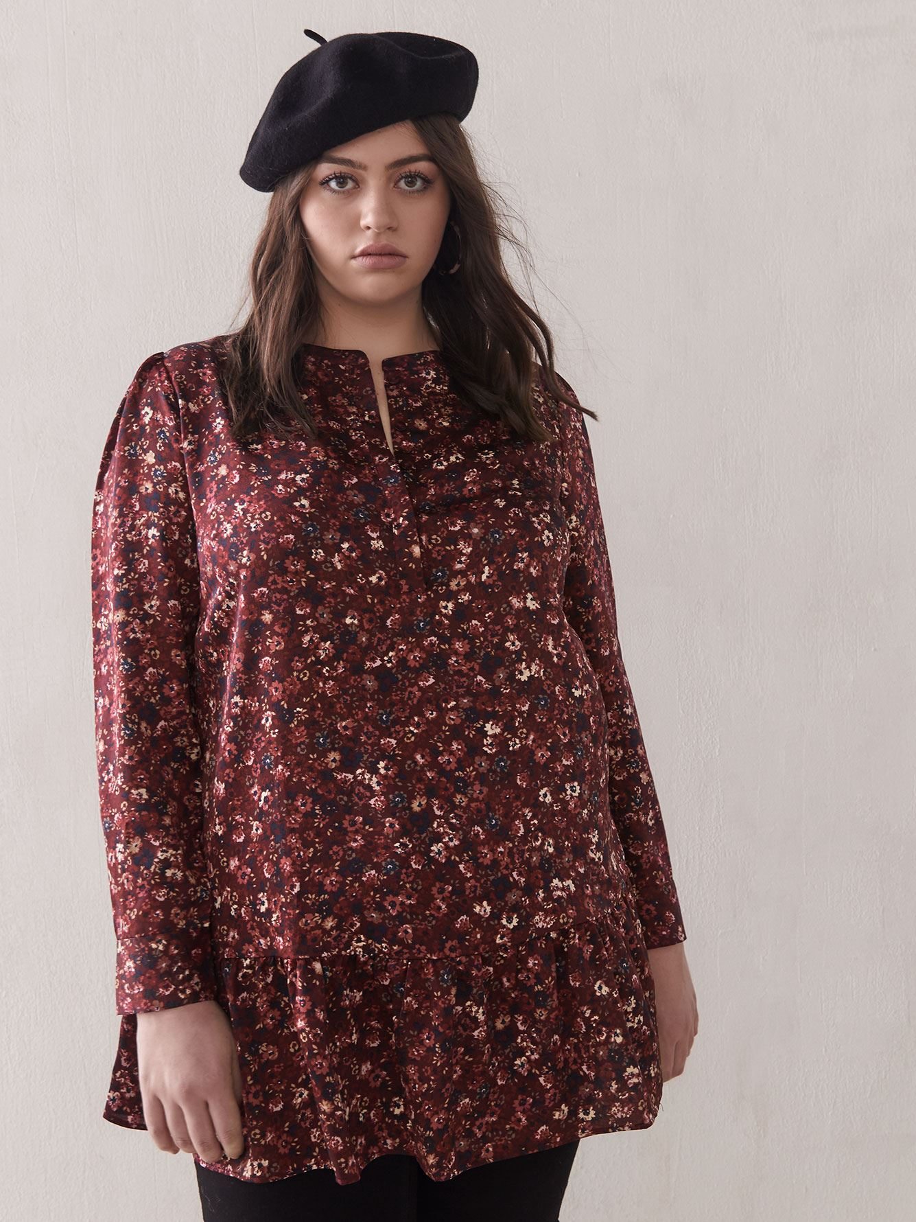 Floral Ruffle Tunic Blouse - Addition Elle