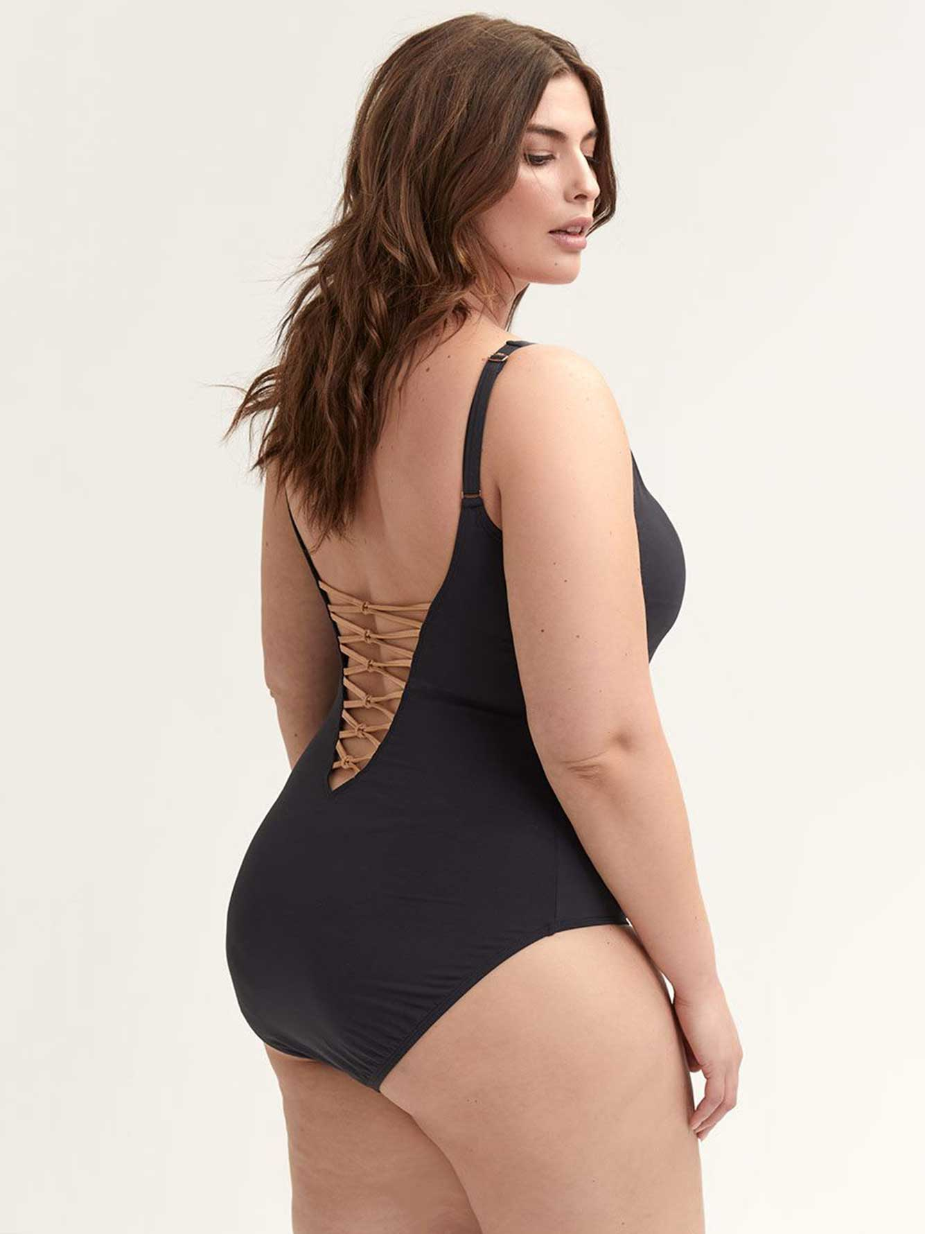Lace-Down One-piece Swimsuit - Bleu Rod Beattie